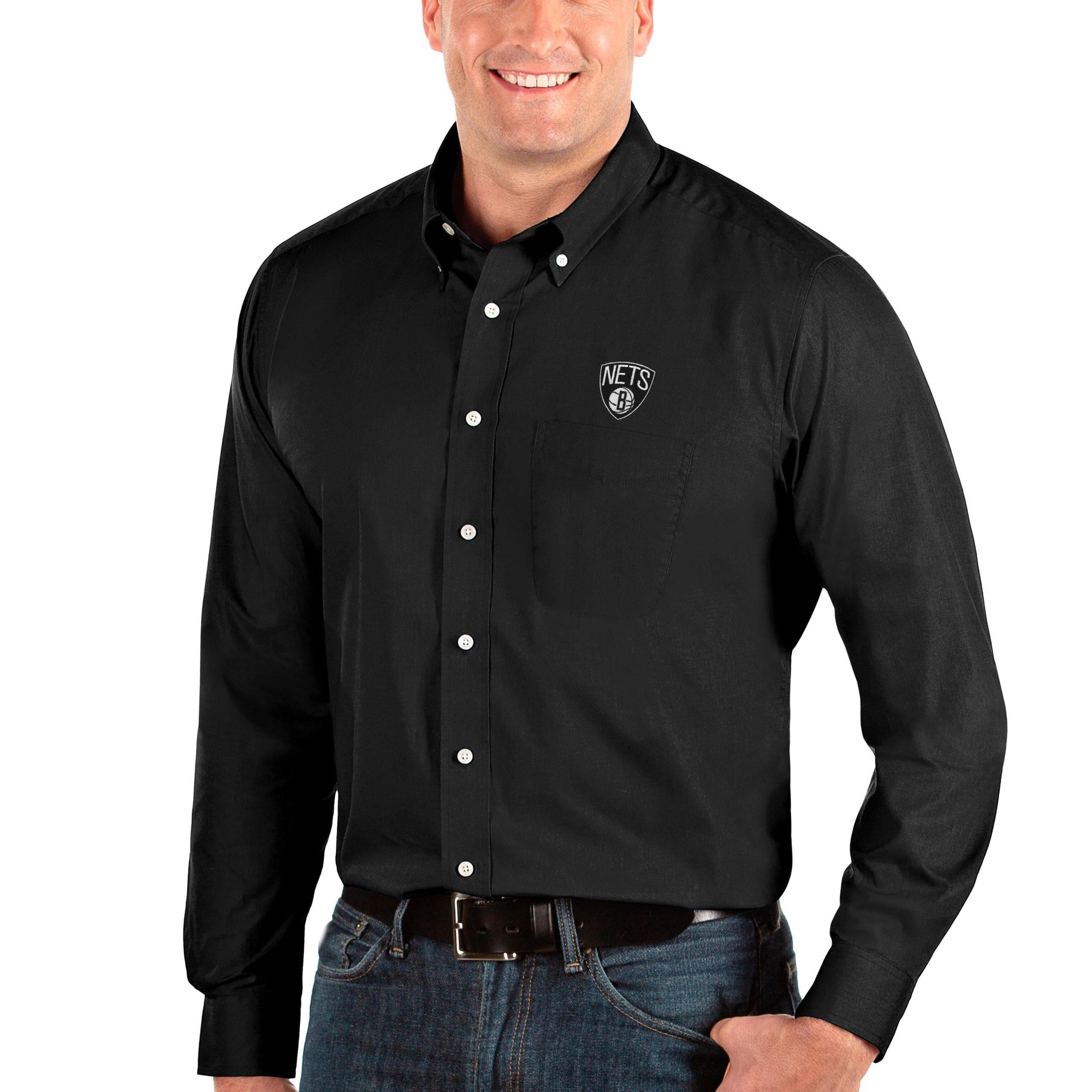 Brooklyn Nets Antigua Big & Tall Dynasty Long Sleeve Button-Down Shirt - Black