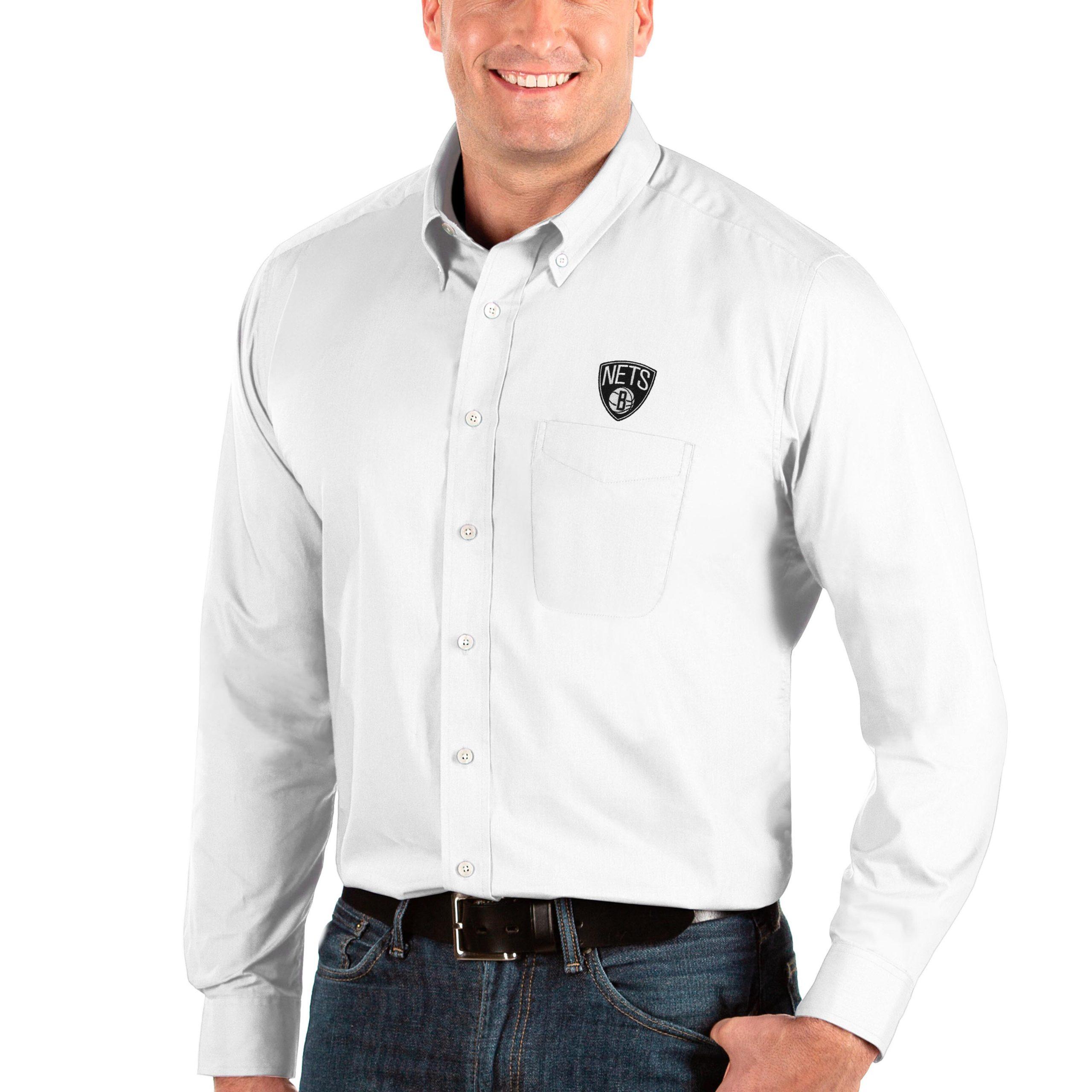 Brooklyn Nets Antigua Big & Tall Dynasty Long Sleeve Button-Down Shirt - White