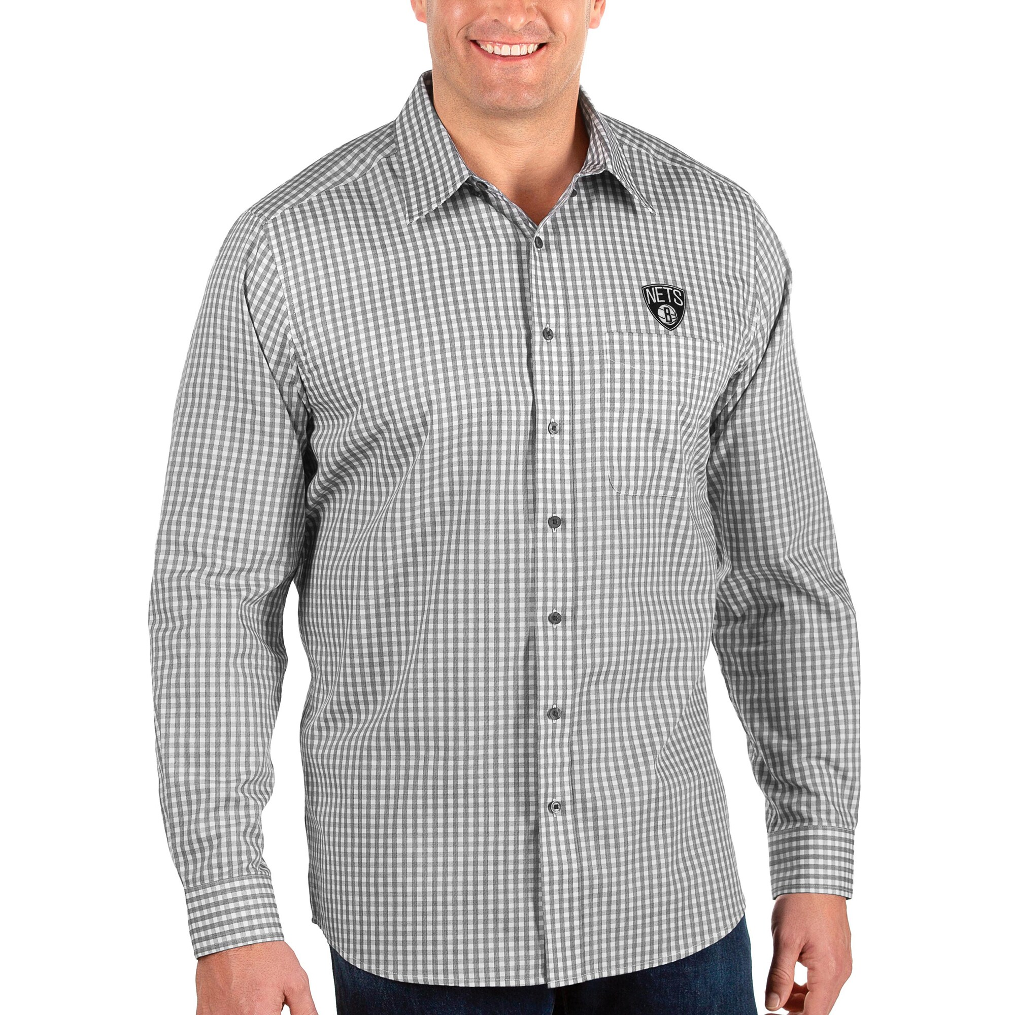 Brooklyn Nets Antigua Big & Tall Structure Long Sleeve Button-Up Shirt - Black/White