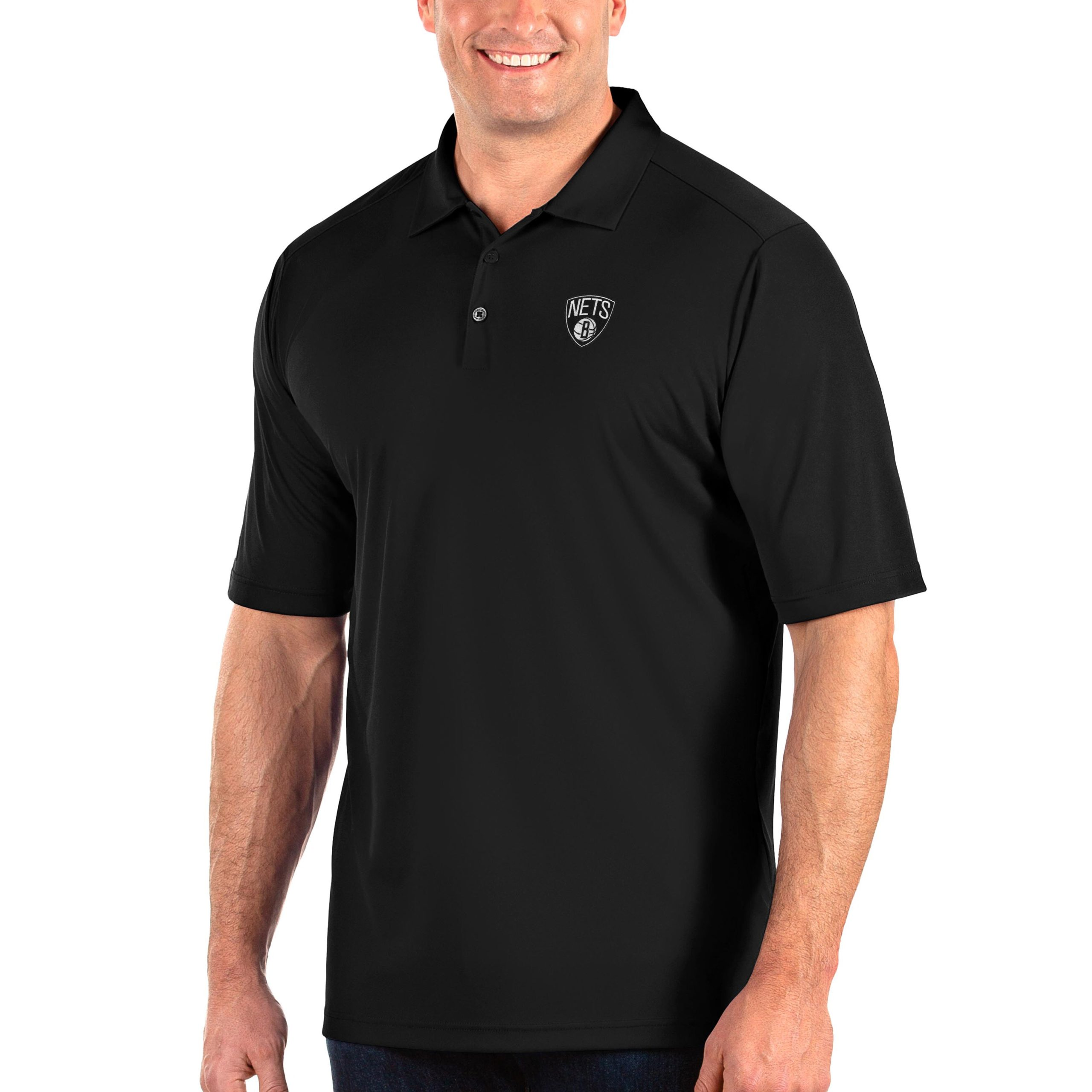 Brooklyn Nets Antigua Big & Tall Tribute Polo - Black