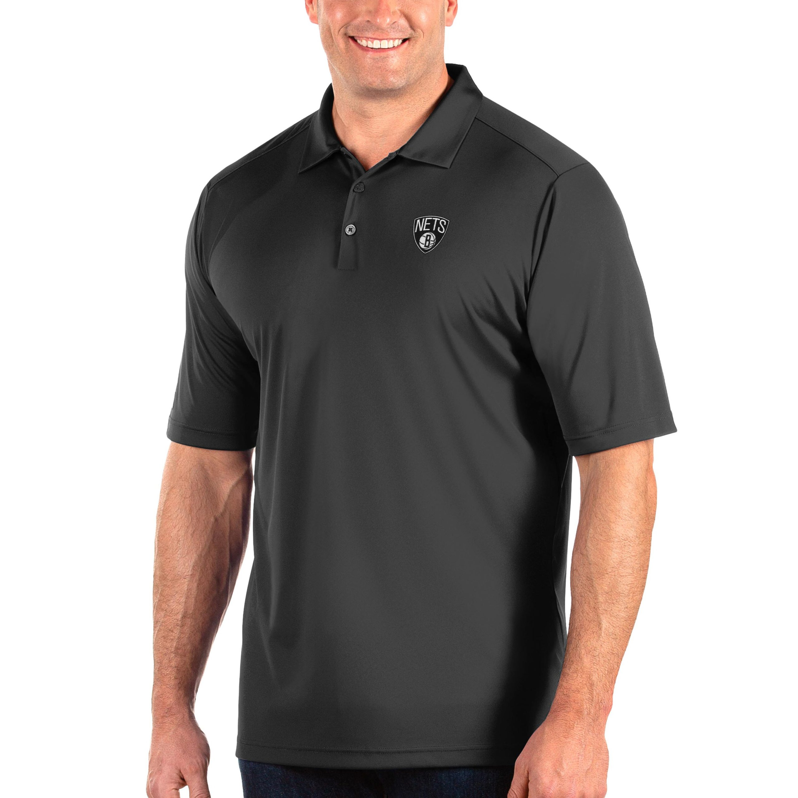 Brooklyn Nets Antigua Big & Tall Tribute Polo - Charcoal