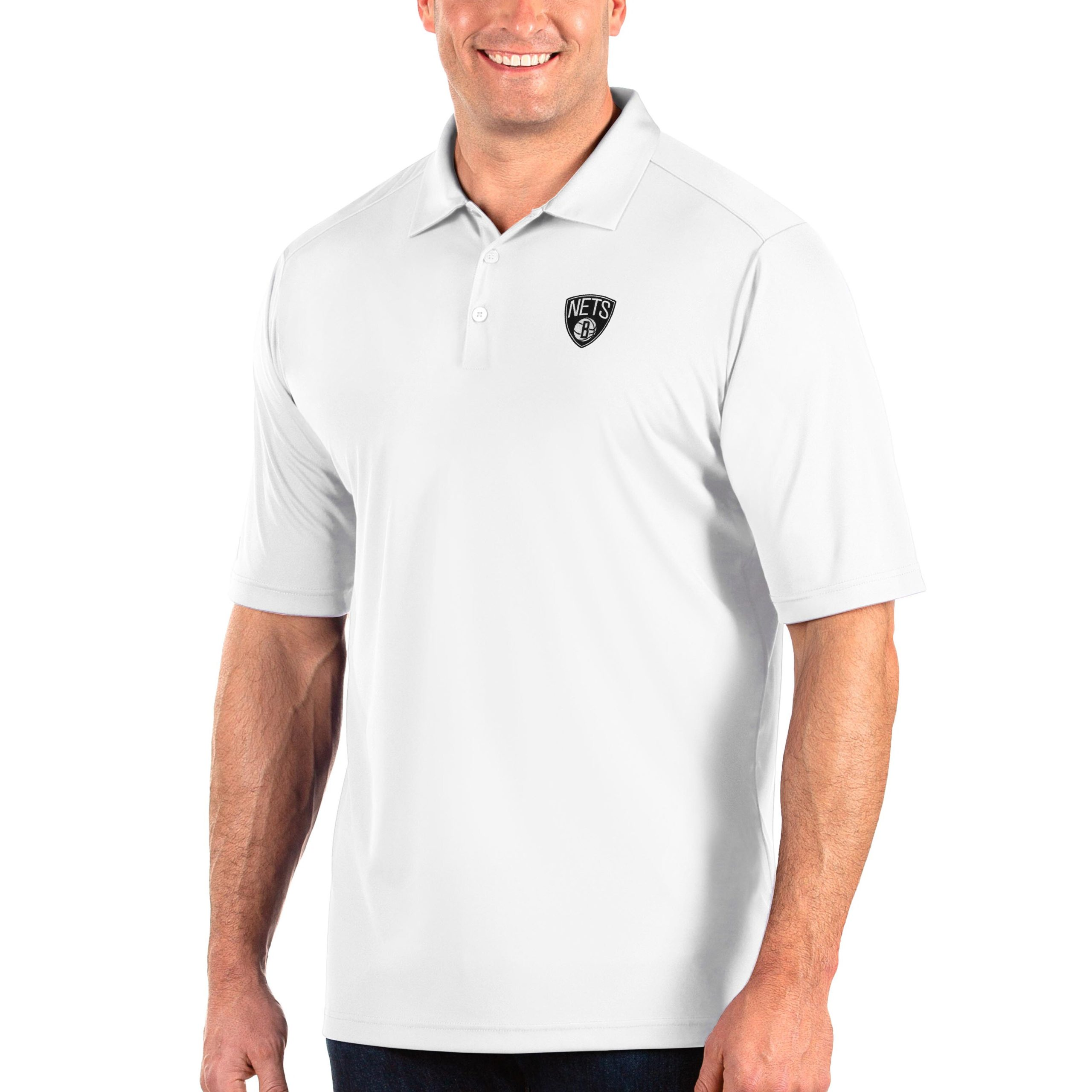 Brooklyn Nets Antigua Big & Tall Tribute Polo - White
