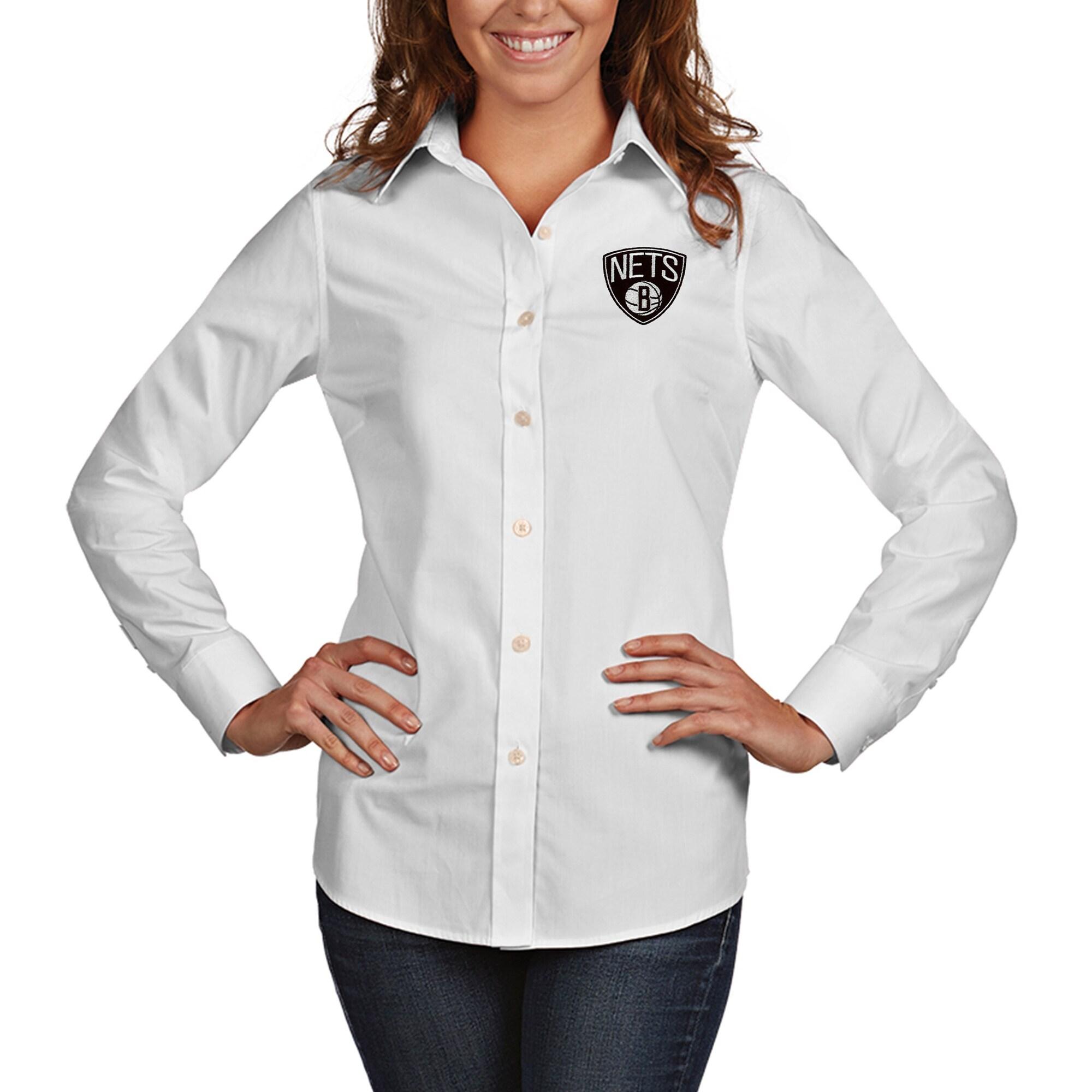 Brooklyn Nets Antigua Women's Dynasty Woven Button-Up Long Sleeve Shirt - White