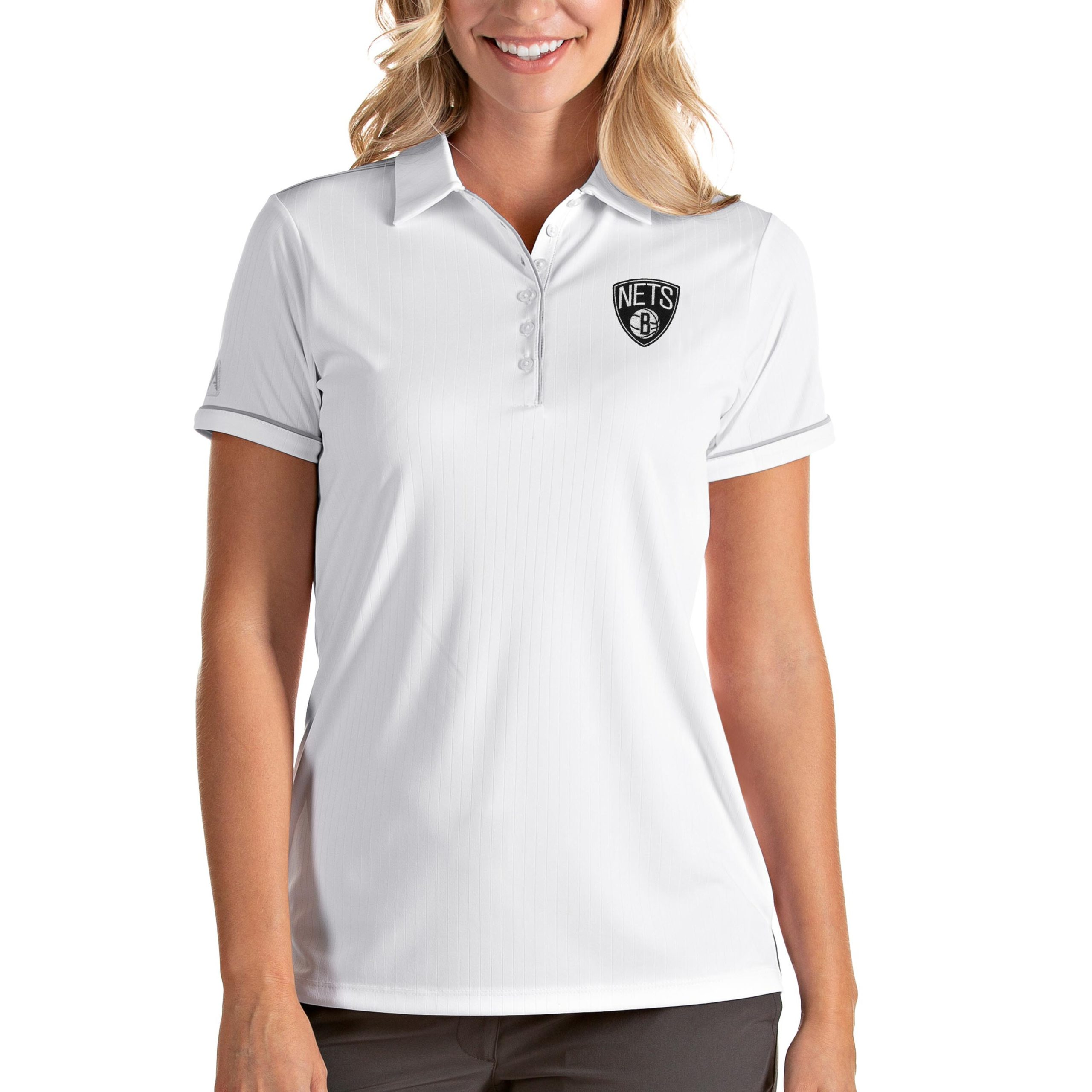 Brooklyn Nets Antigua Women's Salute Polo - White/Silver