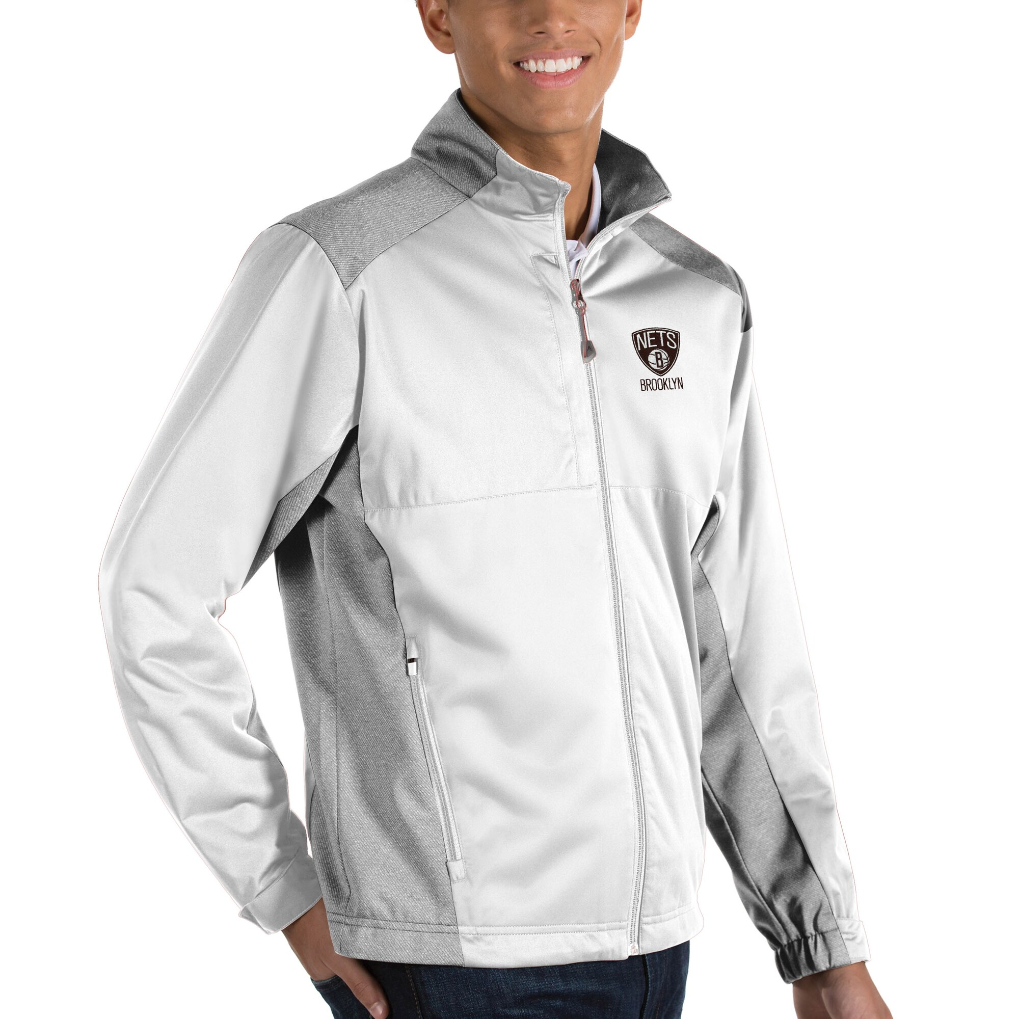 Brooklyn Nets Antigua Revolve Full-Zip Jacket - White