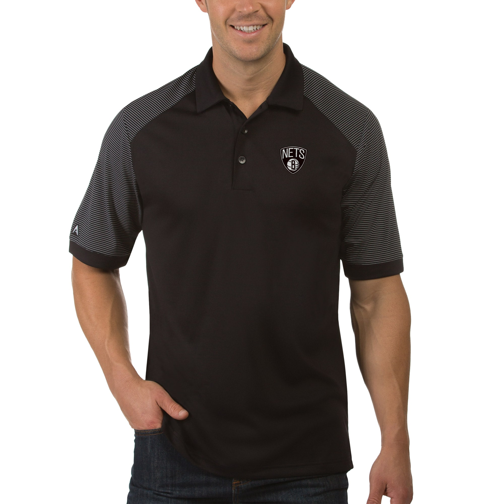 Brooklyn Nets Antigua Engage Polo - Black