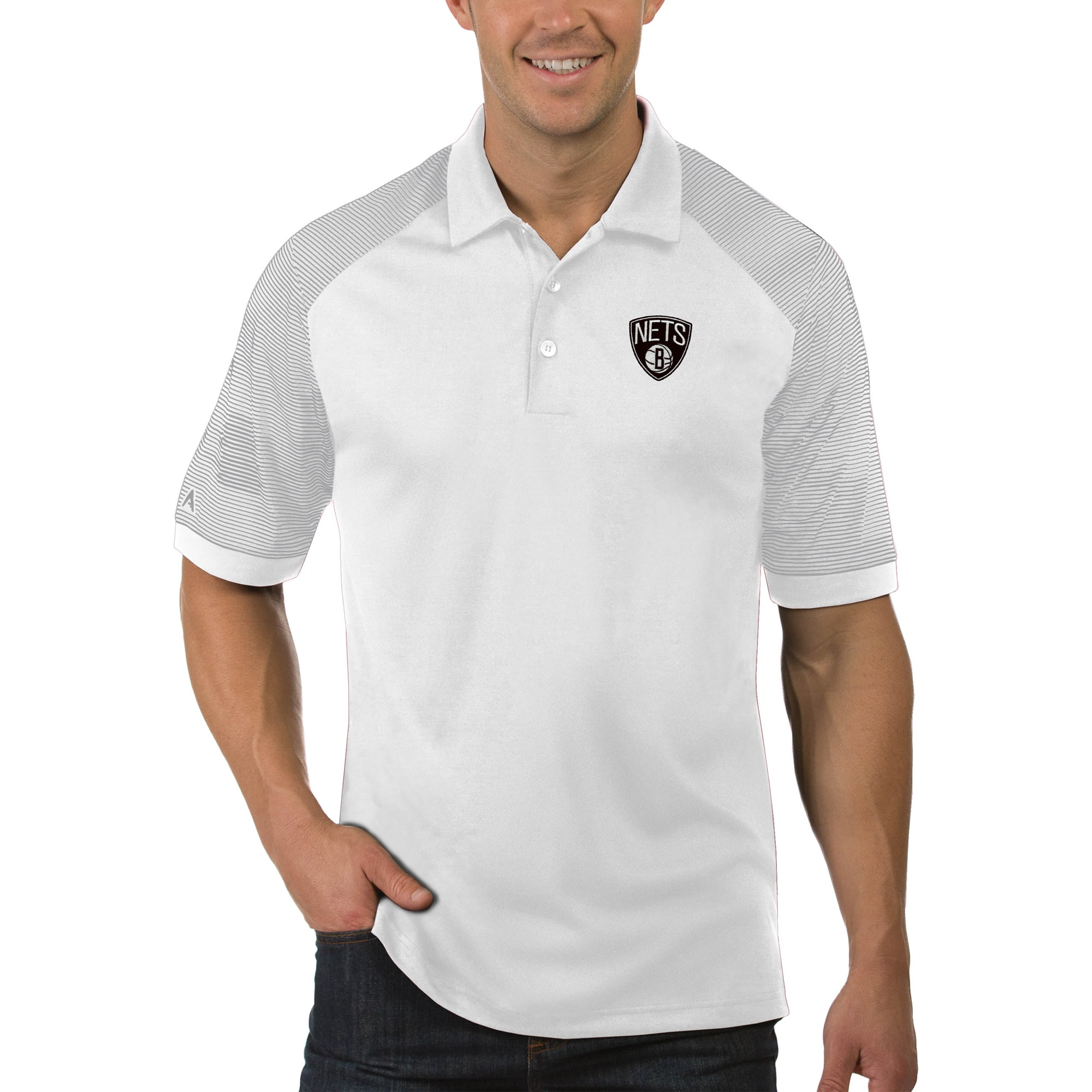 Brooklyn Nets Antigua Engage Big & Tall Polo - White
