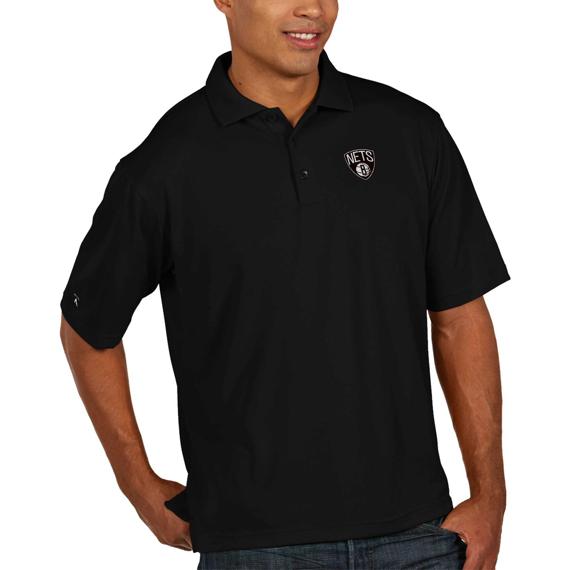 Brooklyn Nets Antigua Pique Xtra Lite Big & Tall Polo - Black