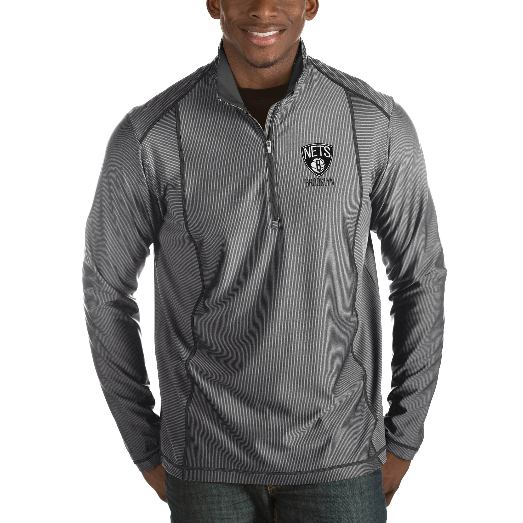 Brooklyn Nets Antigua Tempo Big & Tall Half-Zip Pullover Jacket - Charcoal