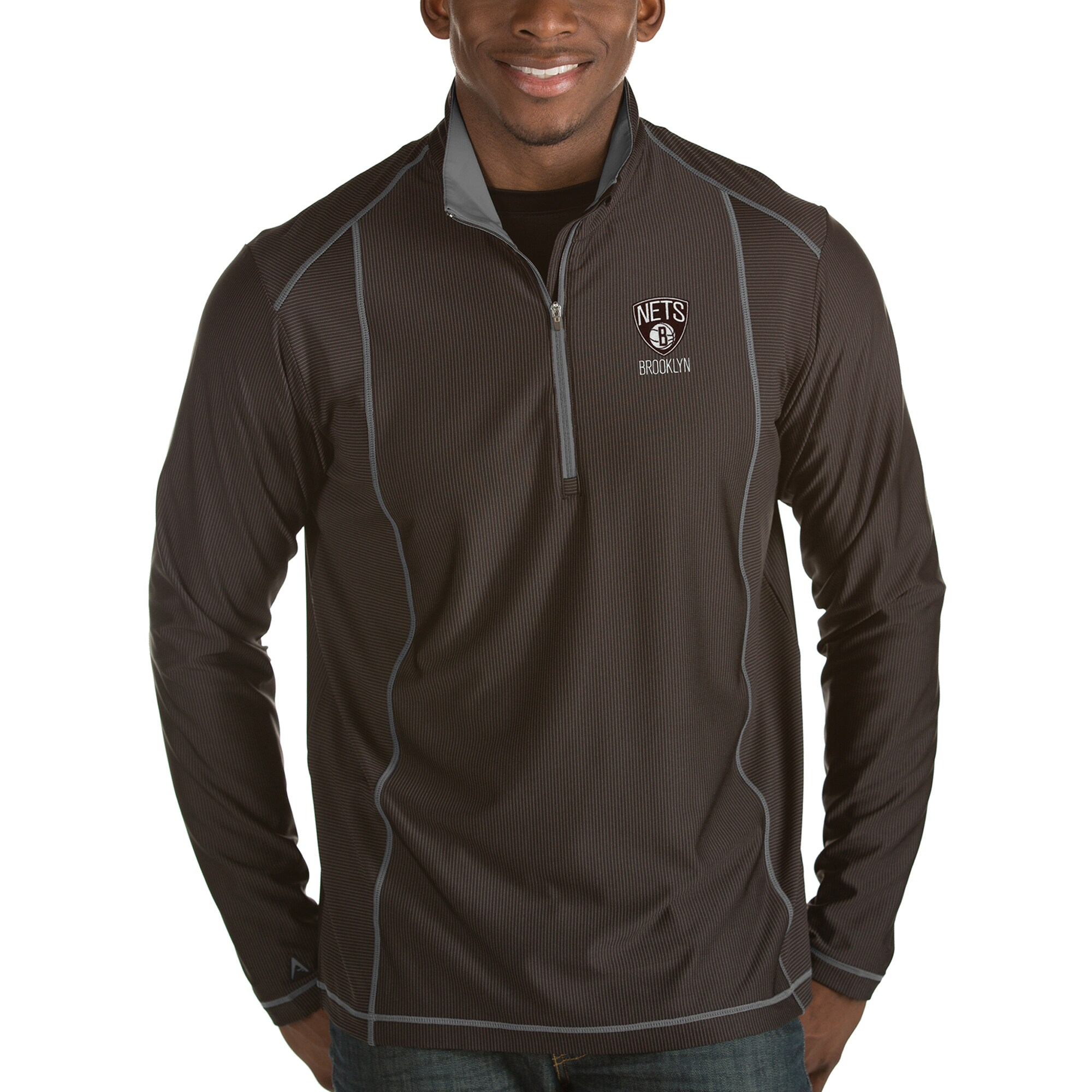 Brooklyn Nets Antigua Tempo Half-Zip Pullover Jacket - Black