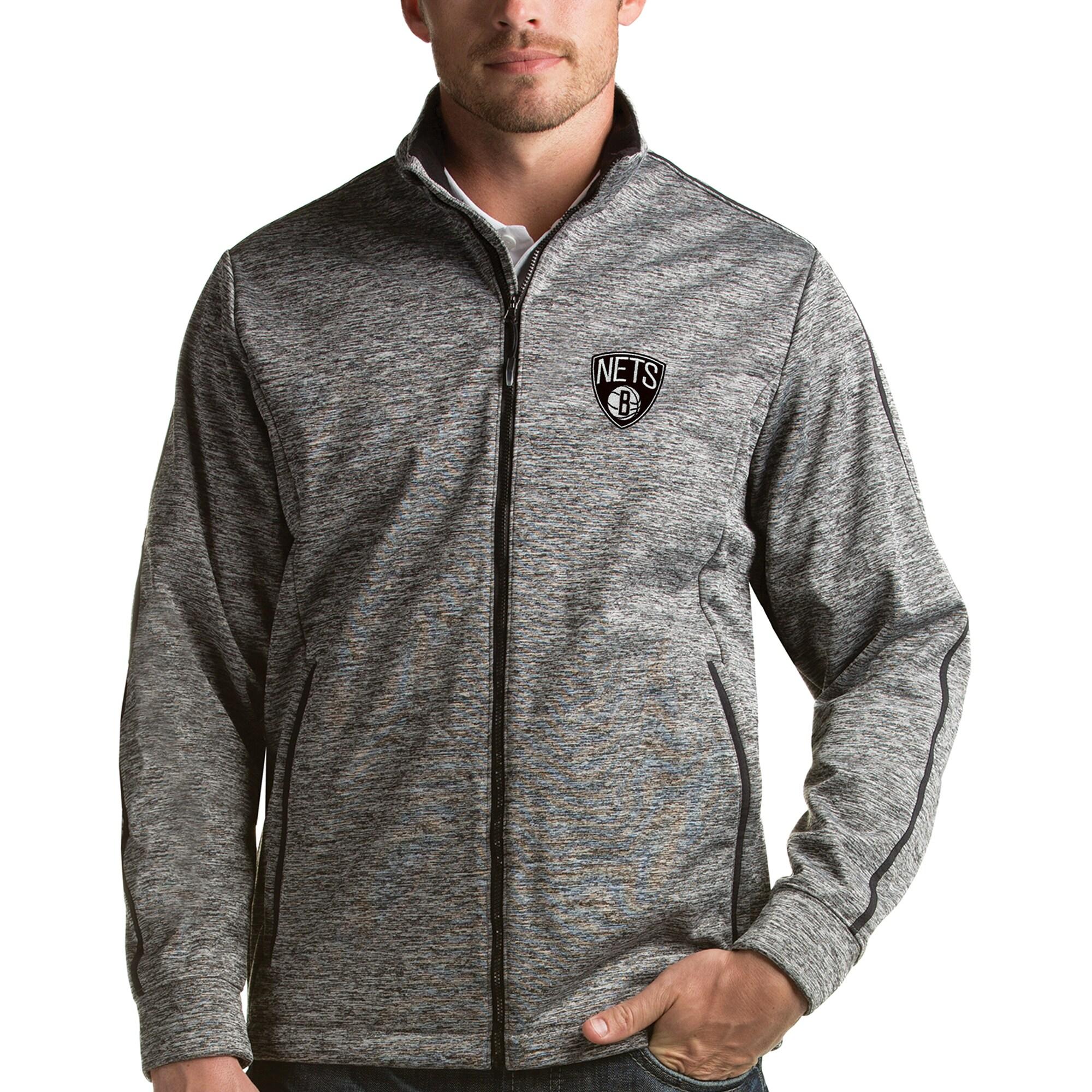 Brooklyn Nets Antigua Golf Full-Zip Jacket - Heather Gray