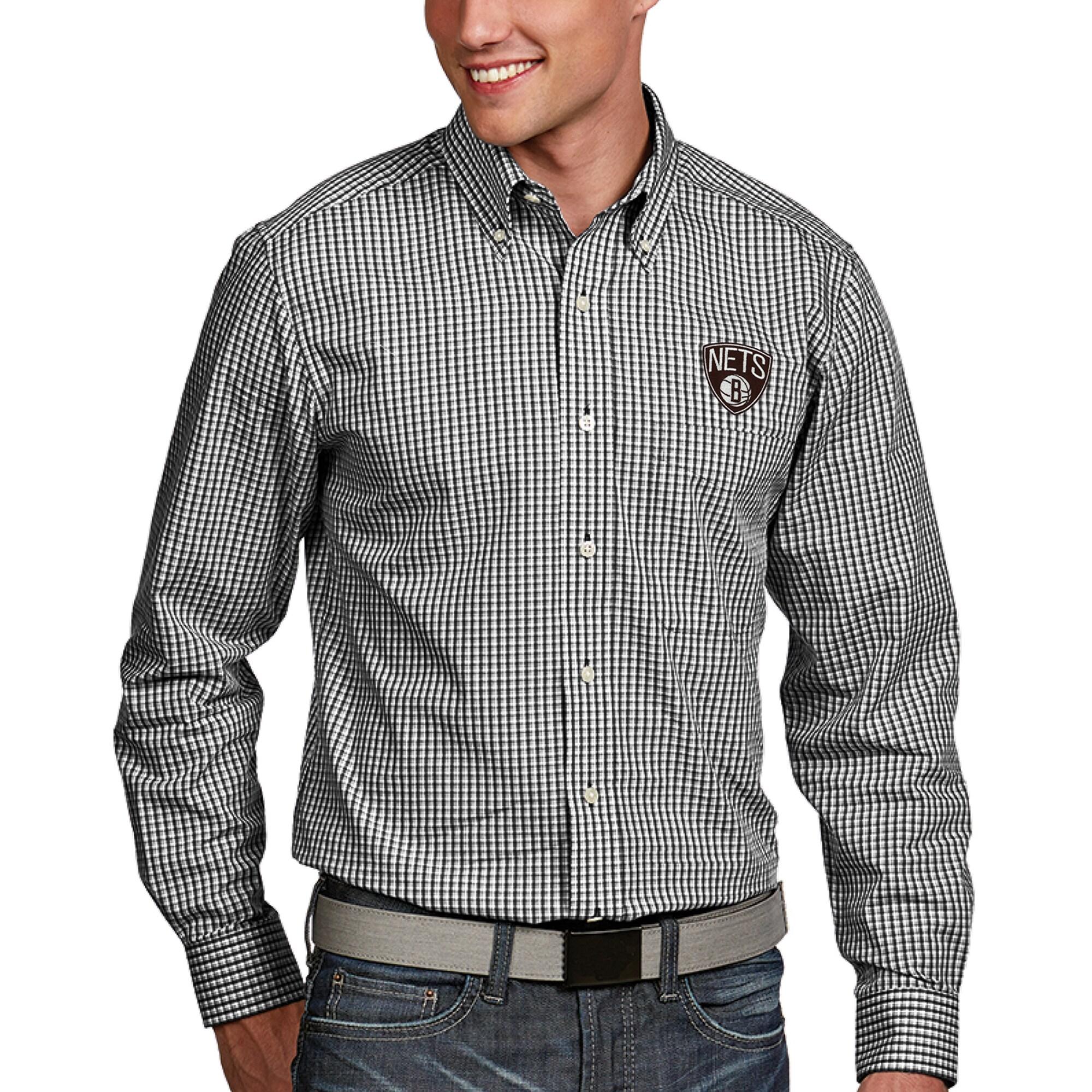 Brooklyn Nets Antigua Associate Long Sleeve Button-Up Shirt - Black