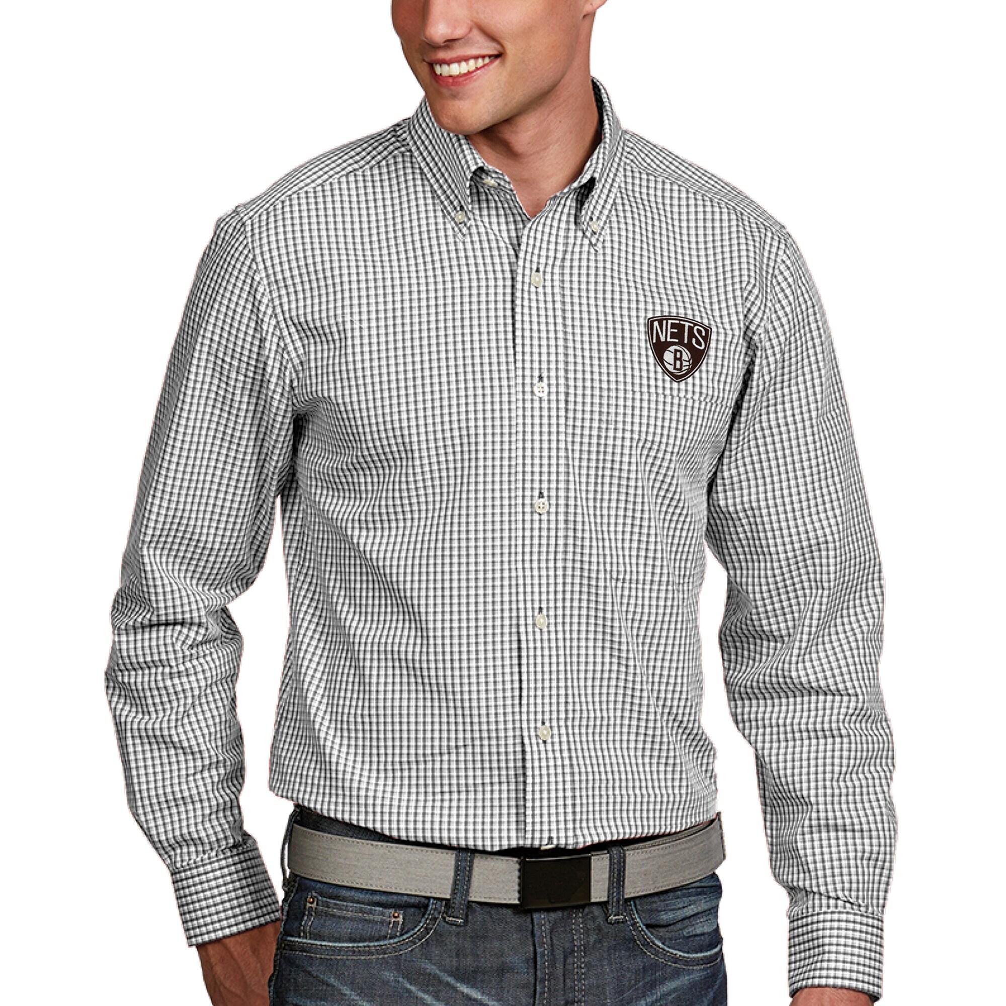 Brooklyn Nets Antigua Associate Button-Down Long Sleeve Shirt - White