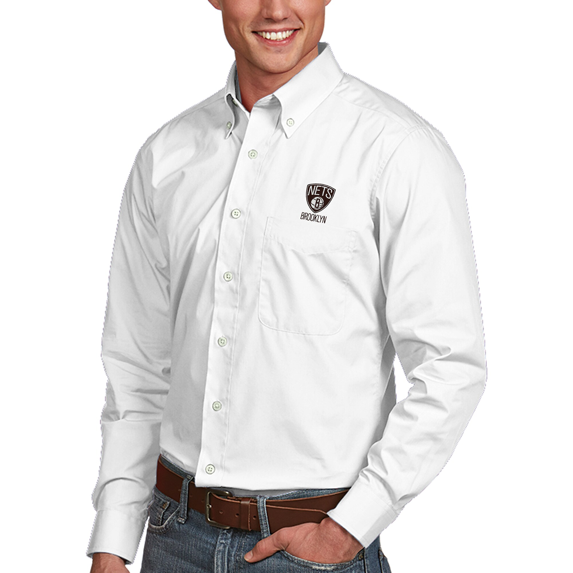 Brooklyn Nets Antigua Dynasty Button-Down Long Sleeve Shirt - White