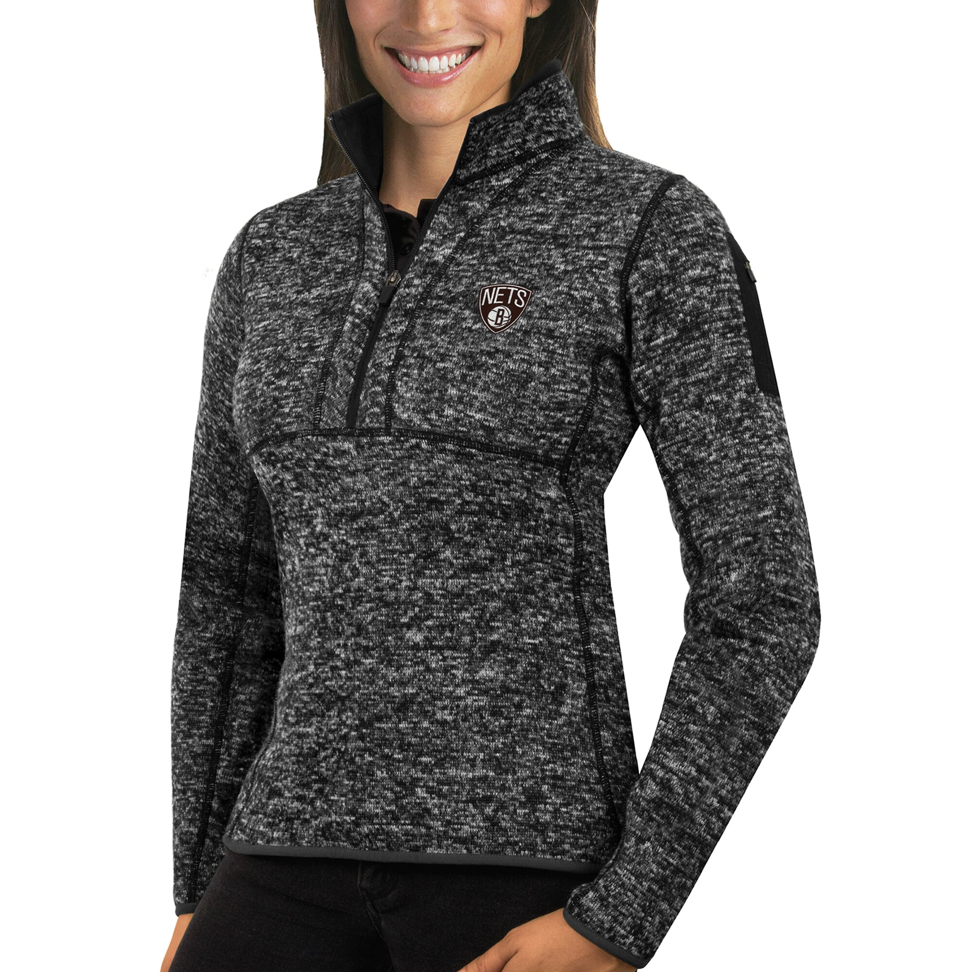 Brooklyn Nets Antigua Women's Fortune Half-Zip Pullover Jacket - Heather Black