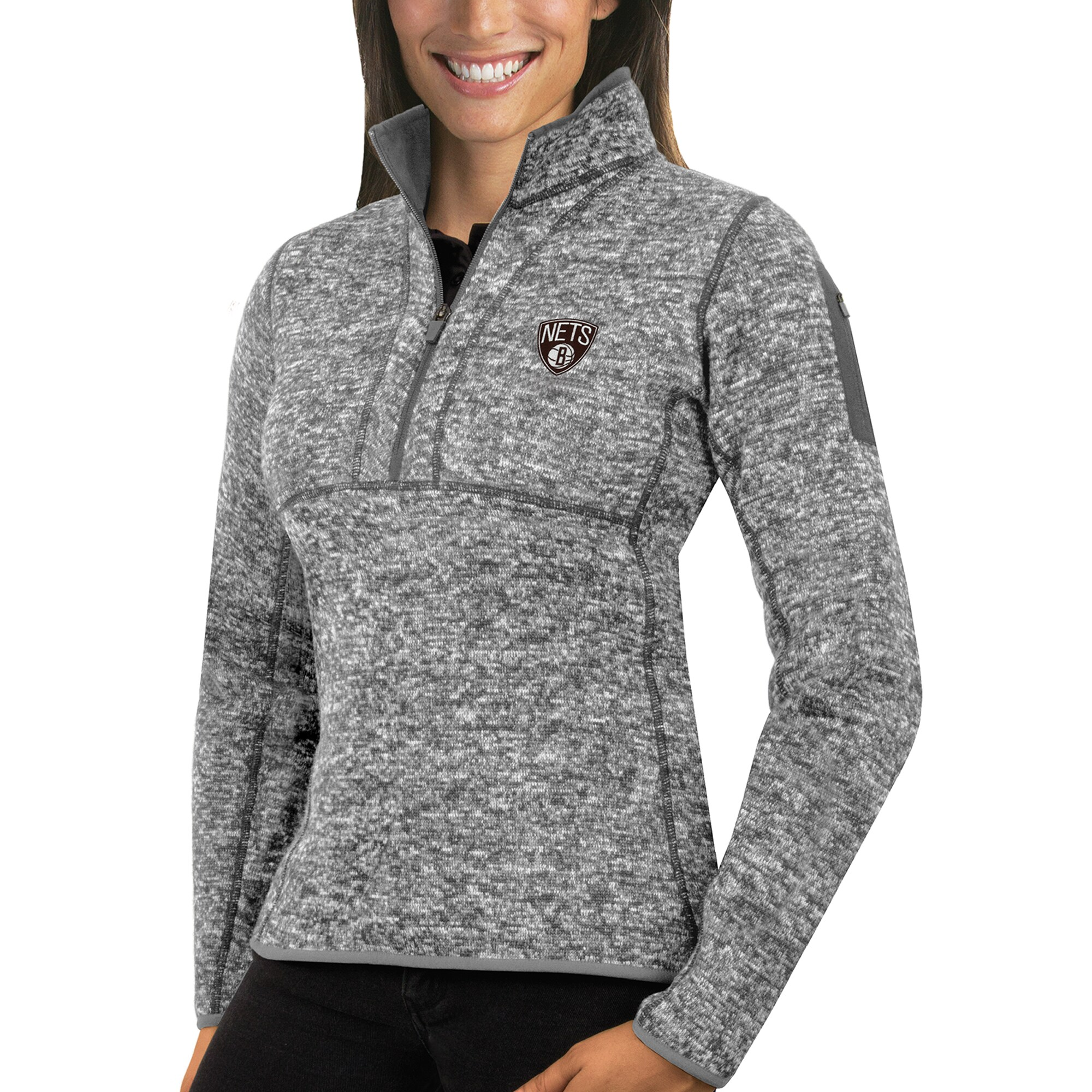 Brooklyn Nets Antigua Women's Fortune Half-Zip Pullover Jacket - Heather Gray