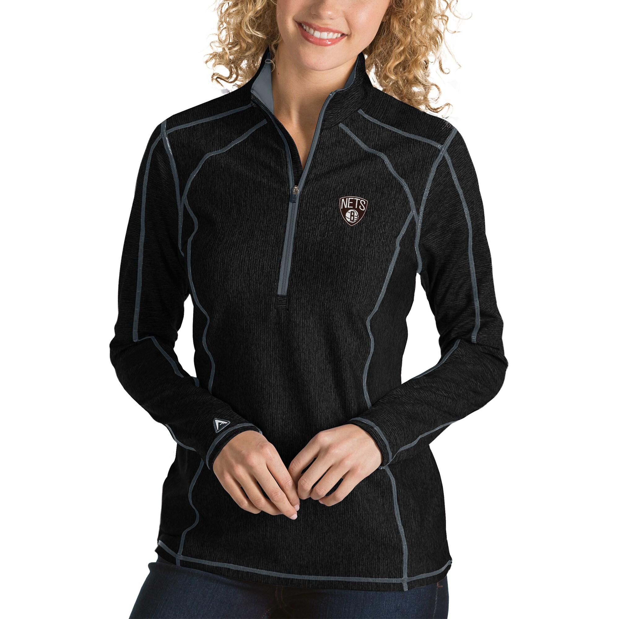 Brooklyn Nets Antigua Women's Tempo Half-Zip Pullover Jacket - Black