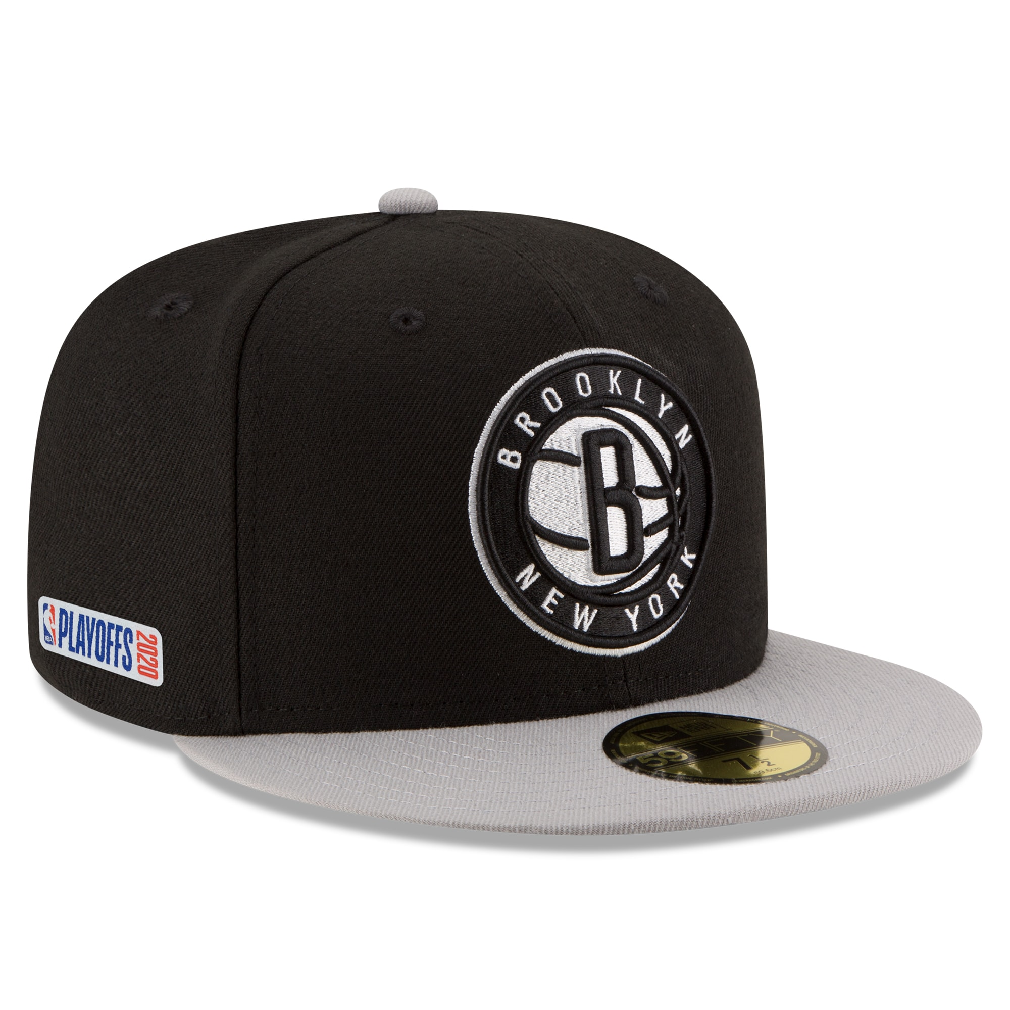 Brooklyn Nets New Era 2020 NBA Playoffs Bound 2-Tone 59FIFTY Fitted Hat - Black/Gray