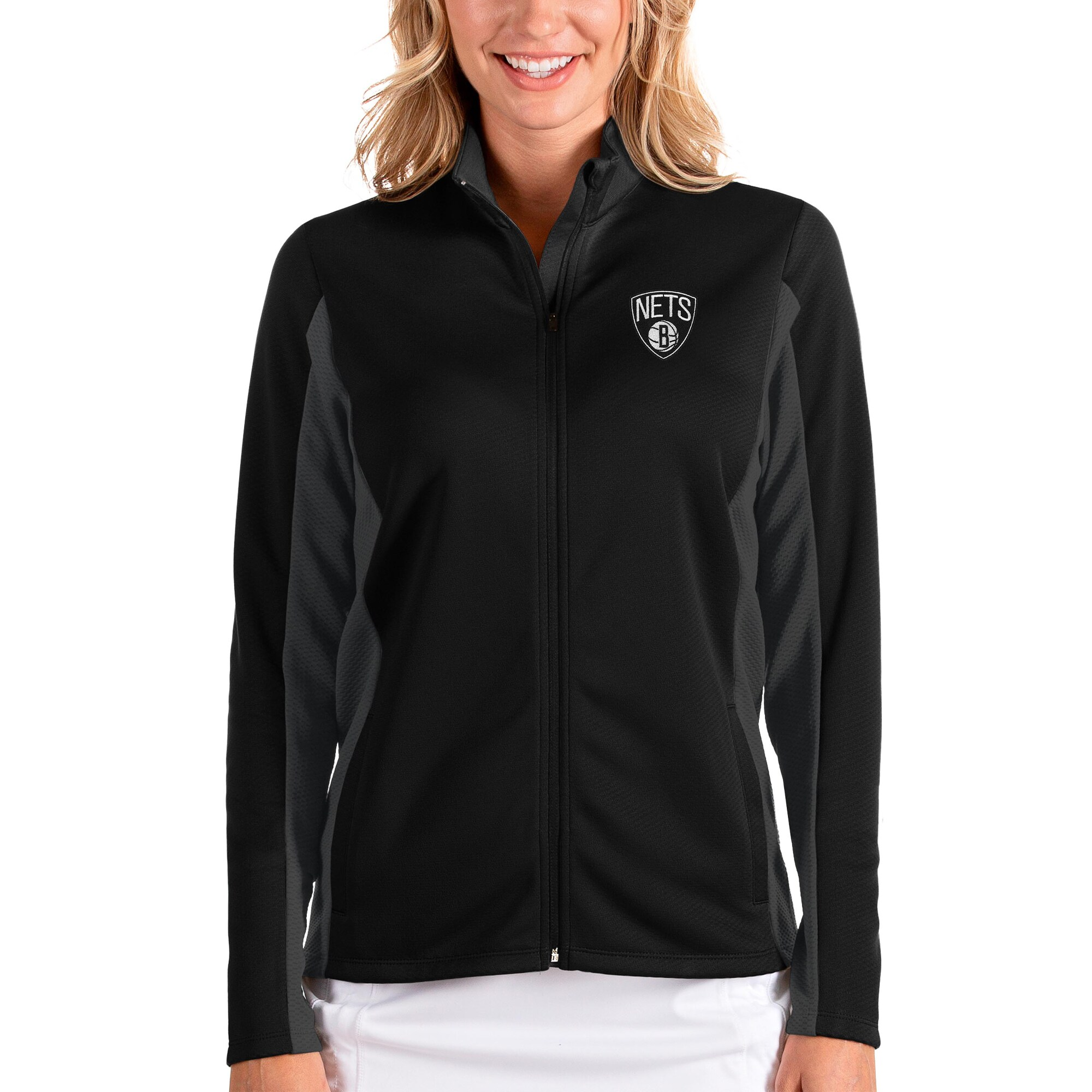 Brooklyn Nets Antigua Women's Passage Full-Zip Jacket - Black/Charcoal