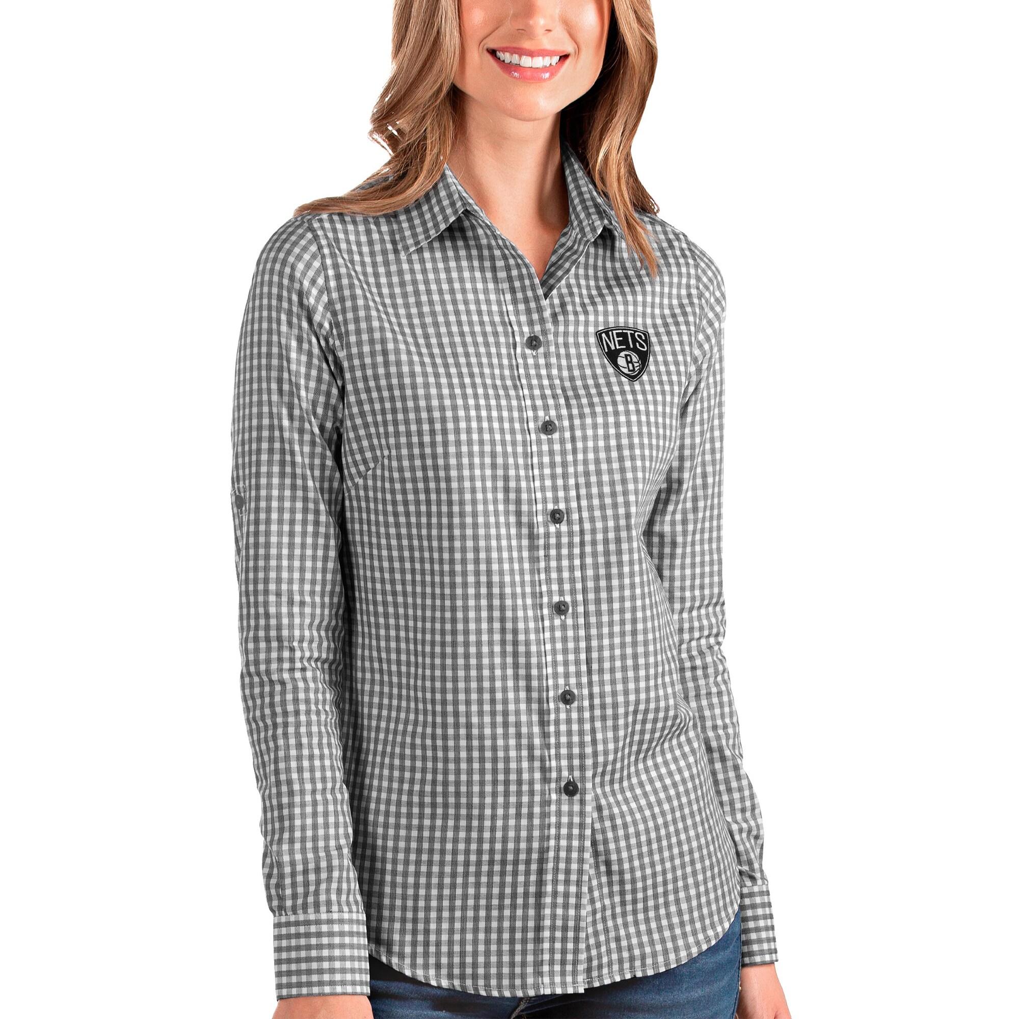 Brooklyn Nets Antigua Women's Structure Button-Up Long Sleeve Shirt - Black/White