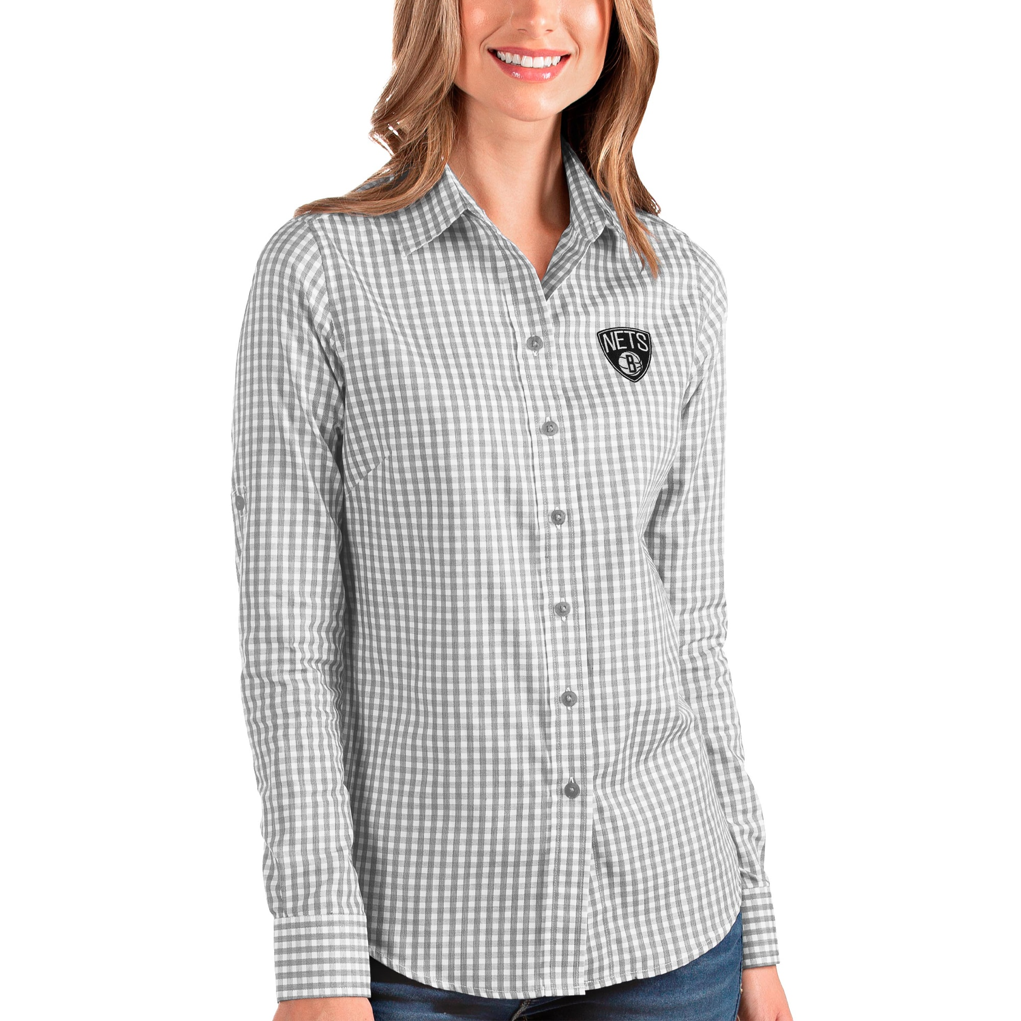 Brooklyn Nets Antigua Women's Structure Button-Up Long Sleeve Shirt - Charcoal/White