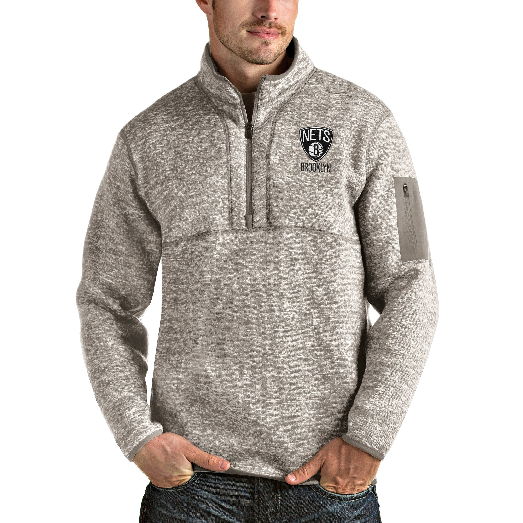 Brooklyn Nets Antigua Fortune Quarter-Zip Pullover Jacket - Natural