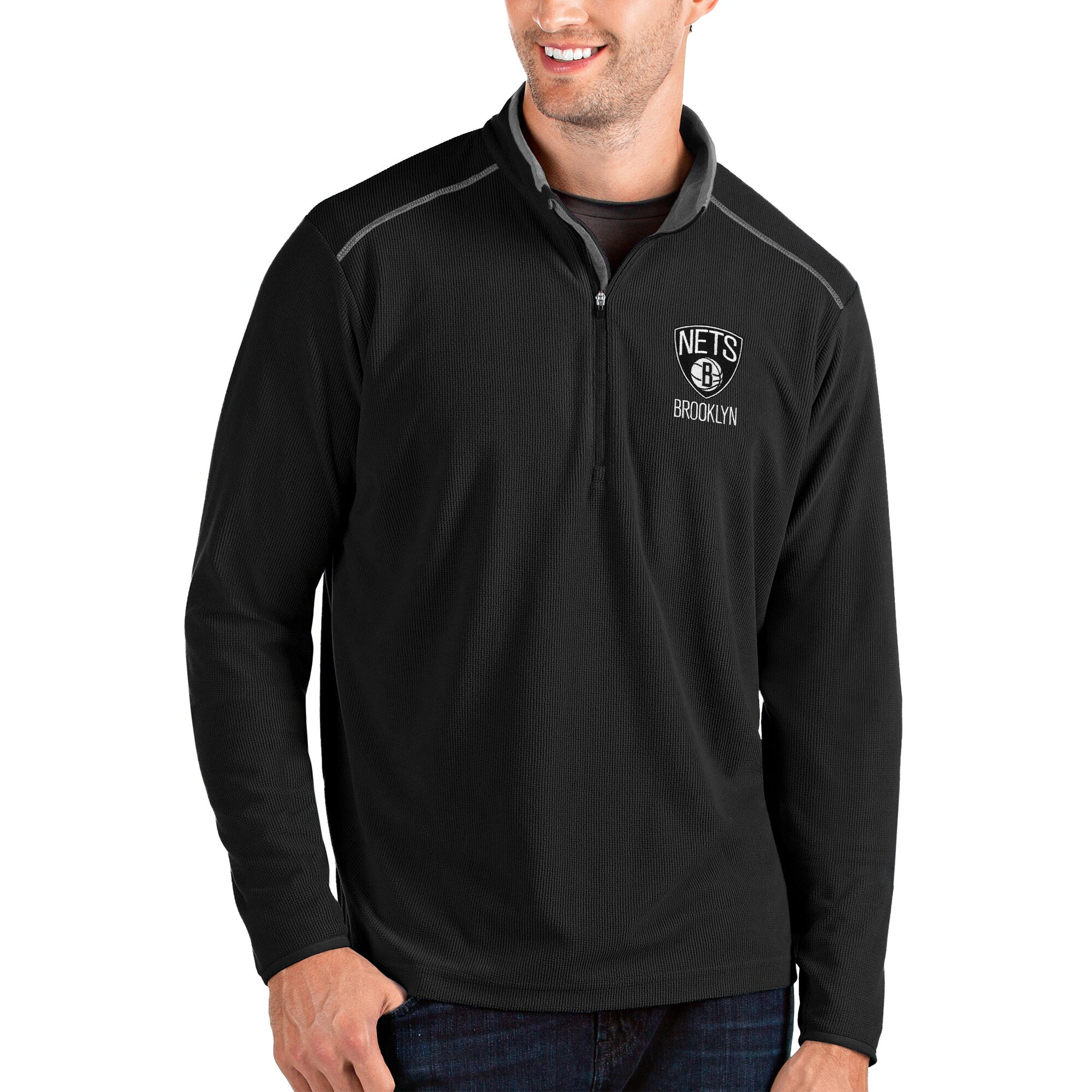 Brooklyn Nets Antigua Glacier Quarter-Zip Pullover Jacket - Black/Gray