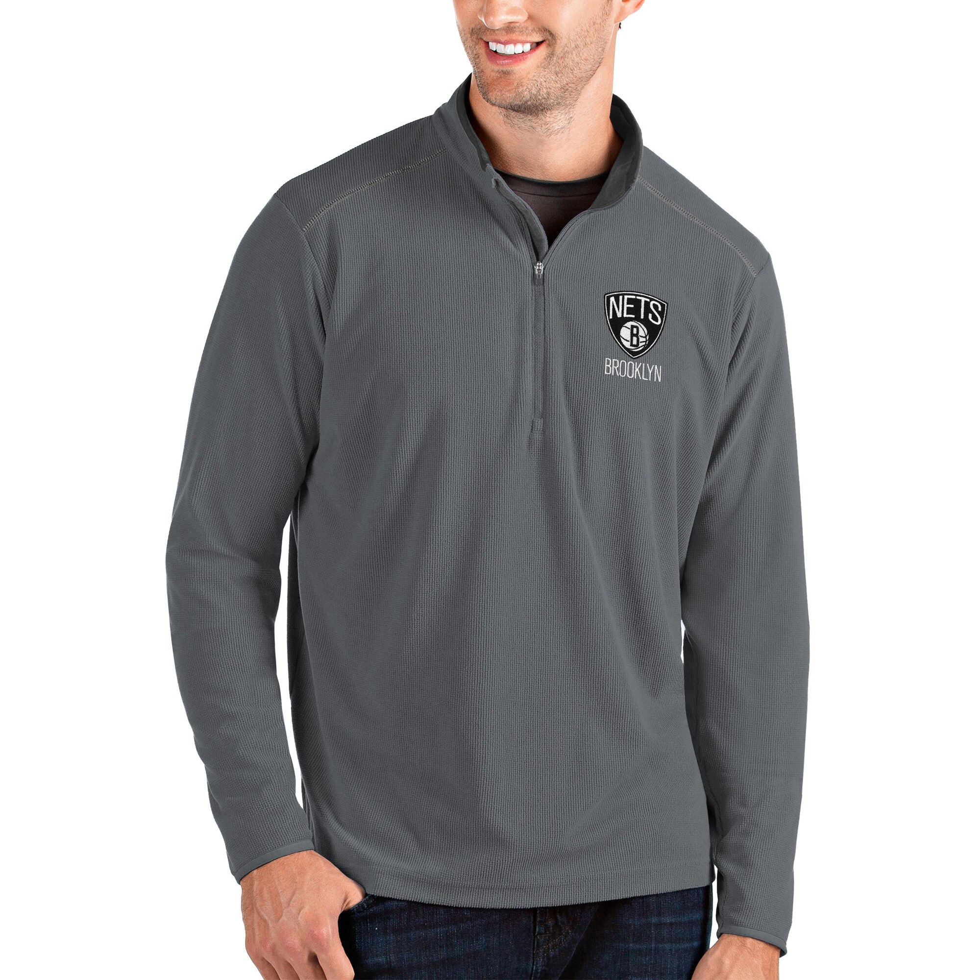 Brooklyn Nets Antigua Glacier Quarter-Zip Pullover Jacket - Charcoal/Gray
