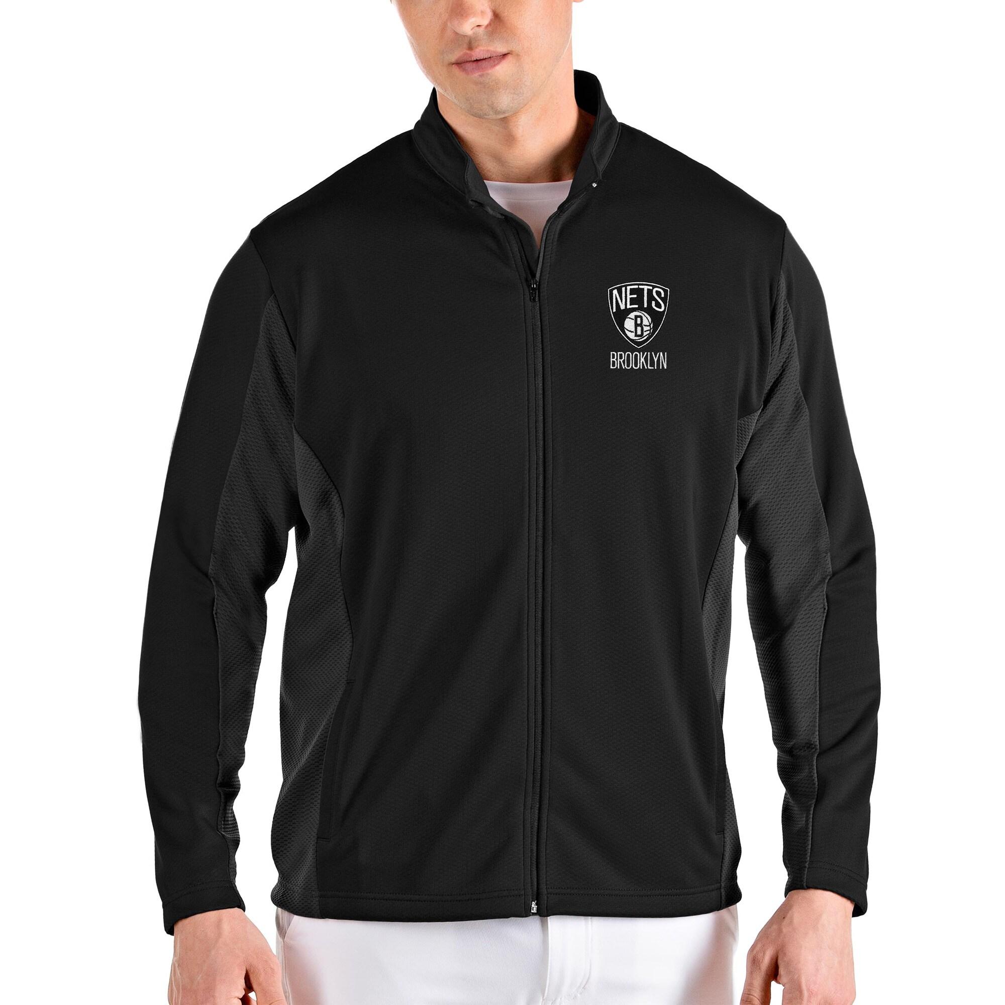 Brooklyn Nets Antigua Passage Full-Zip Jacket - Black/Gray
