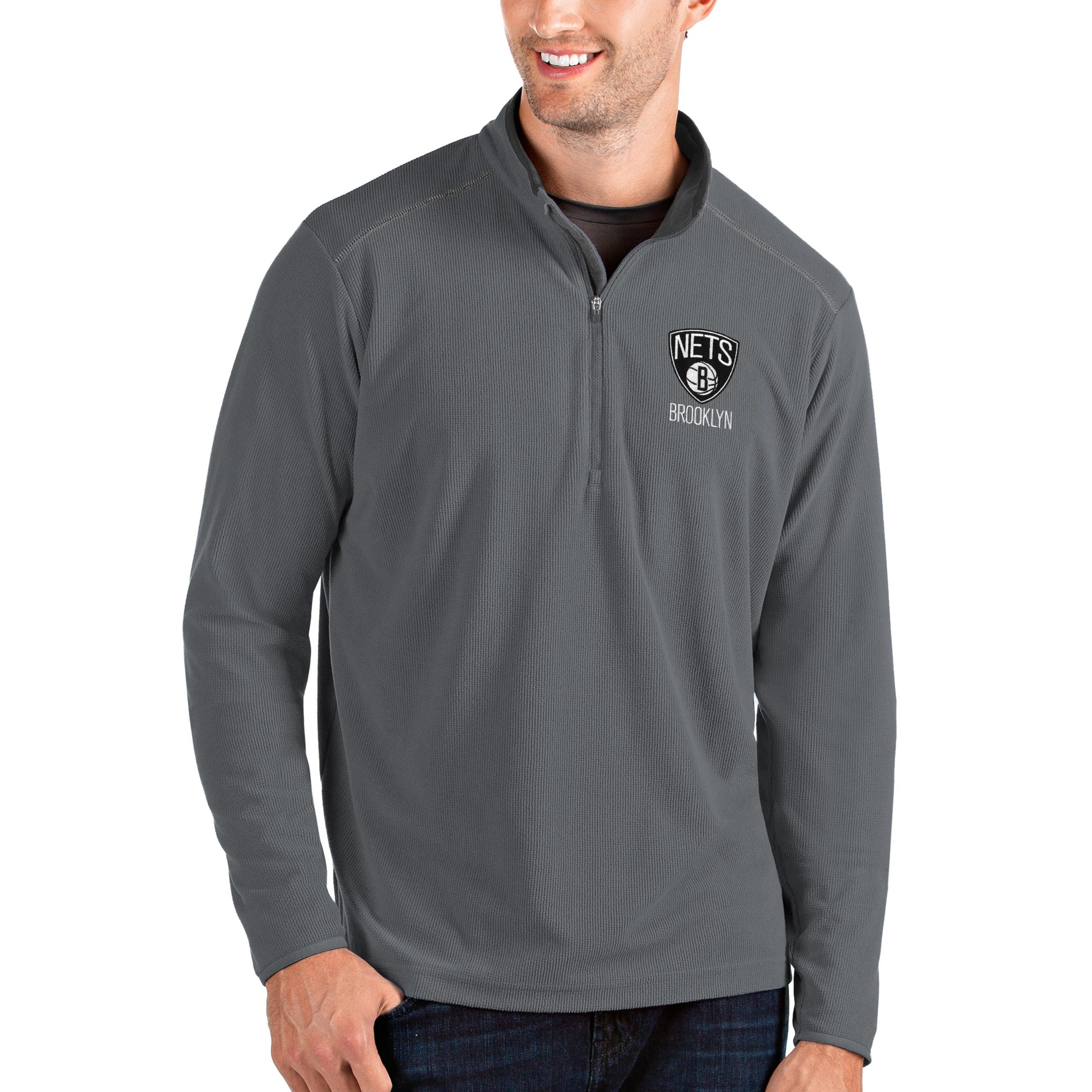 Brooklyn Nets Antigua Big & Tall Glacier Quarter-Zip Pullover Jacket - Gray/Gray