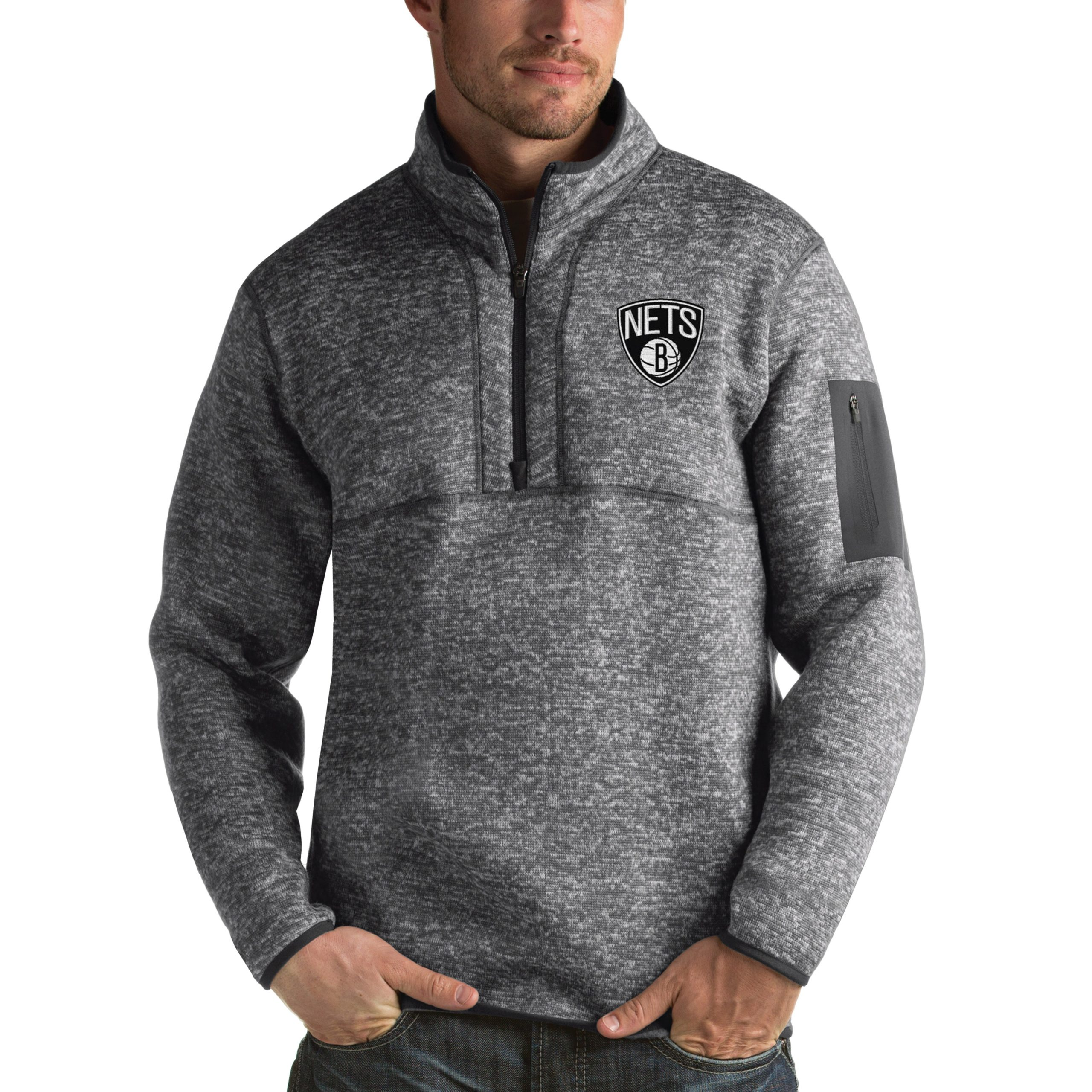 Brooklyn Nets Antigua Fortune 1/2-Zip Pullover Jacket - Heathered Black