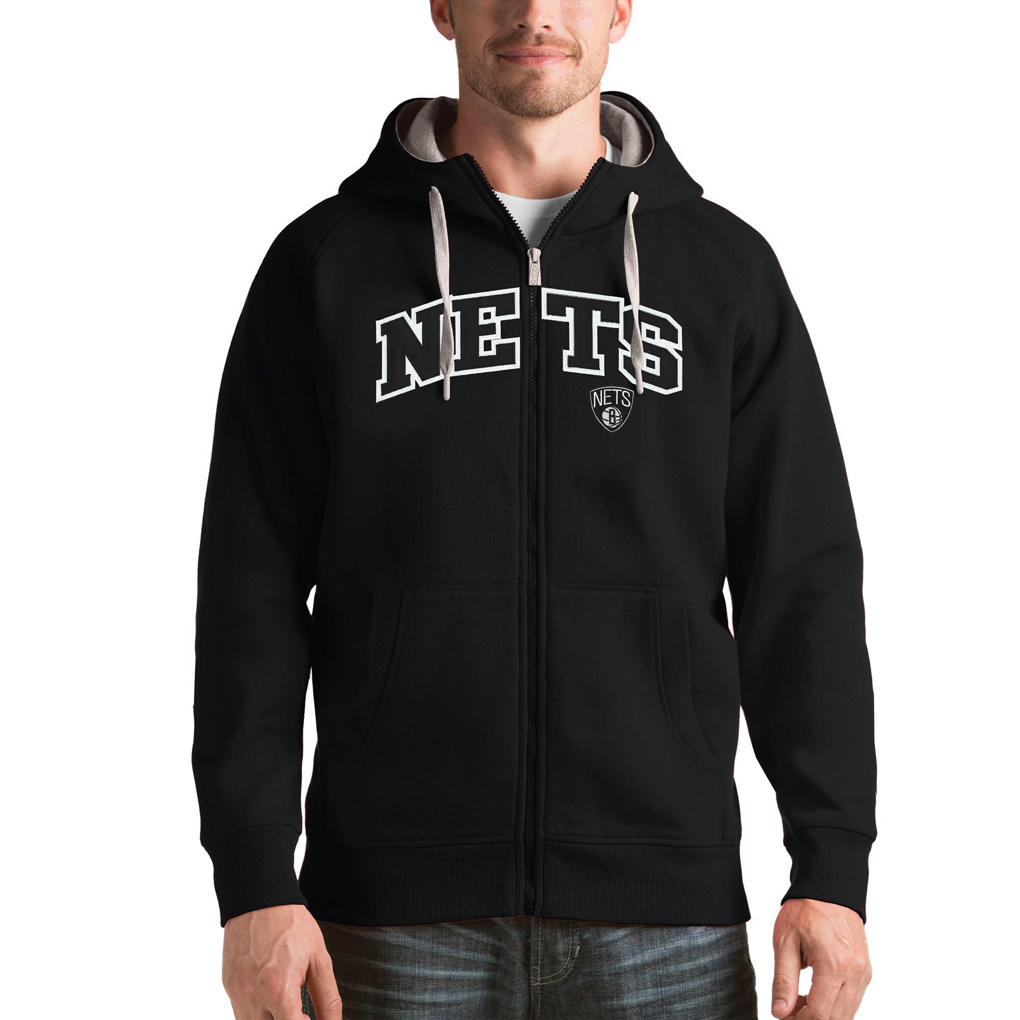 Brooklyn Nets Antigua Victory Full Zip Hoodie - Black