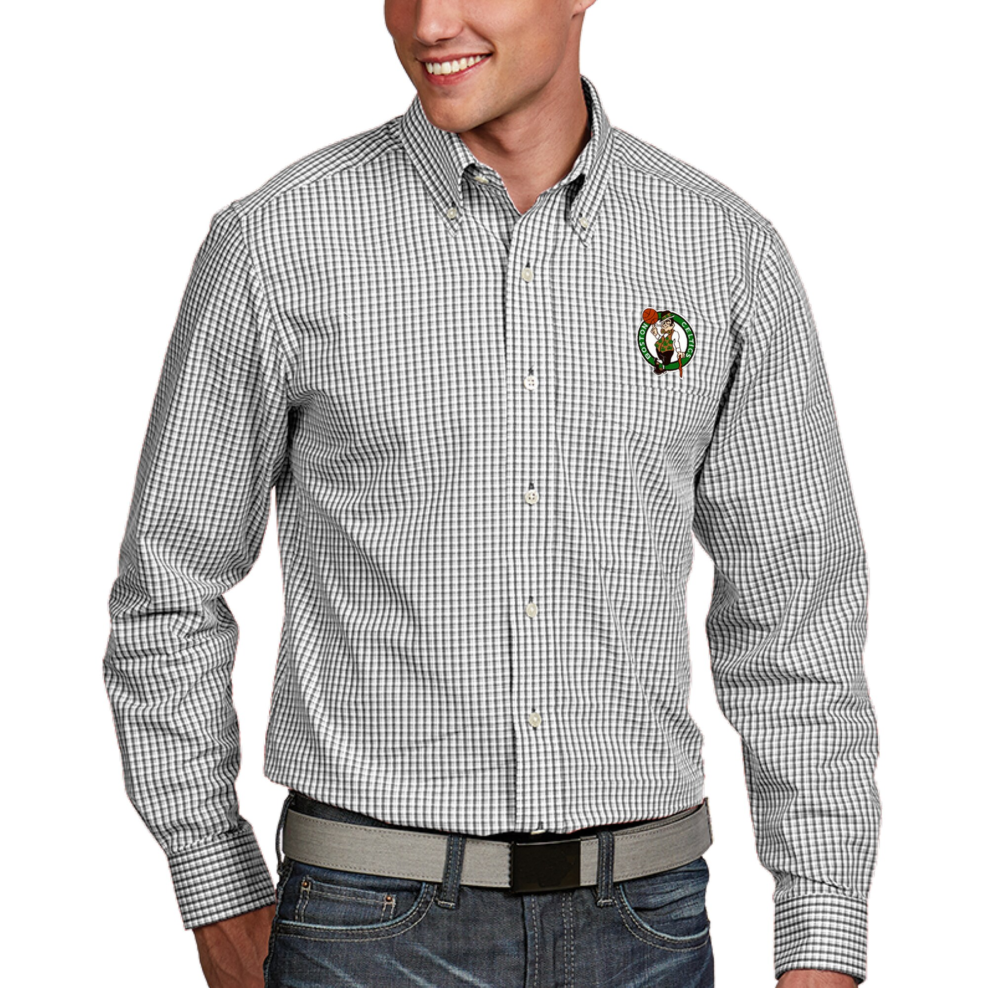 Boston Celtics Antigua Associate Button-Down Long Sleeve Shirt - White