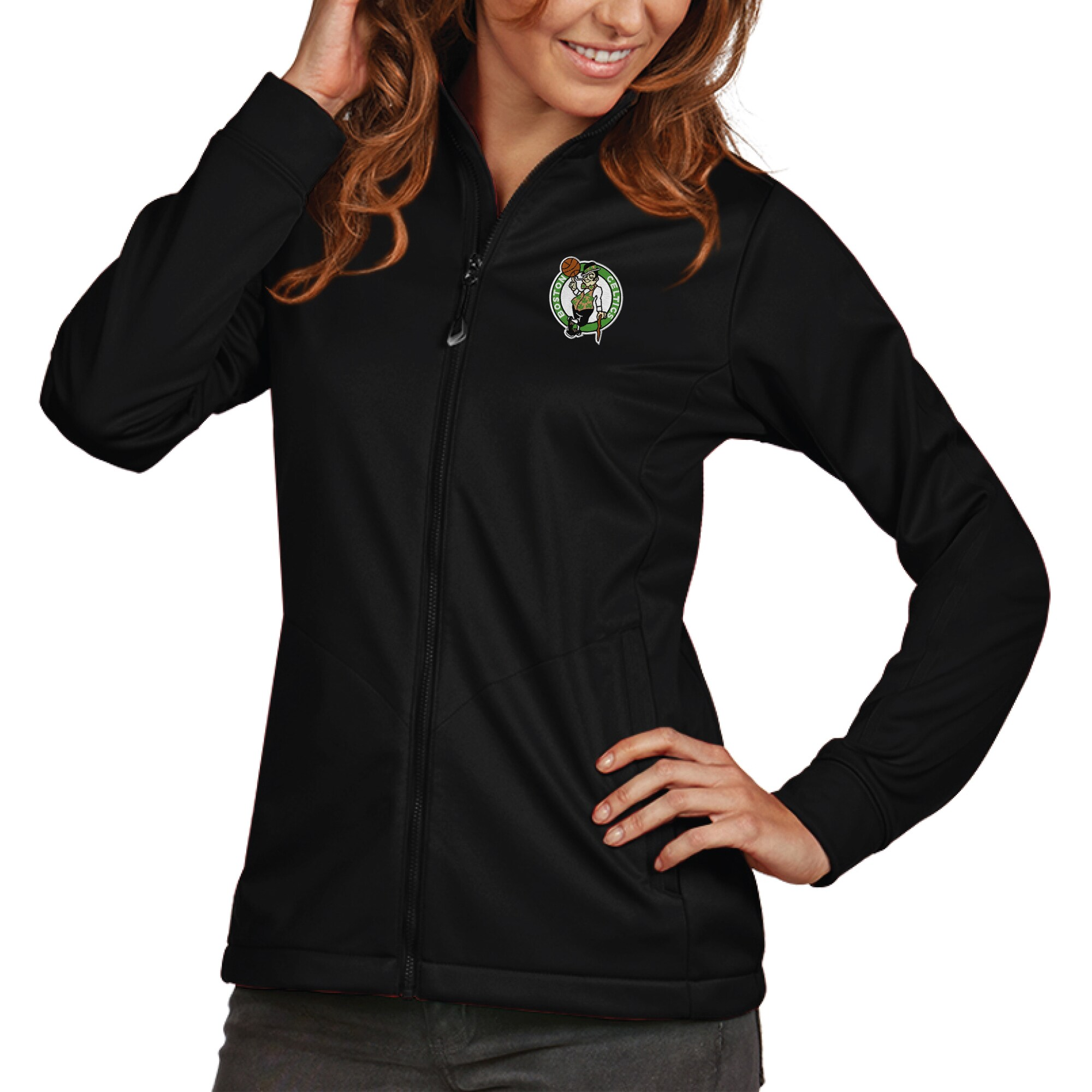 Boston Celtics Antigua Women's Golf Full-Zip Jacket - Black