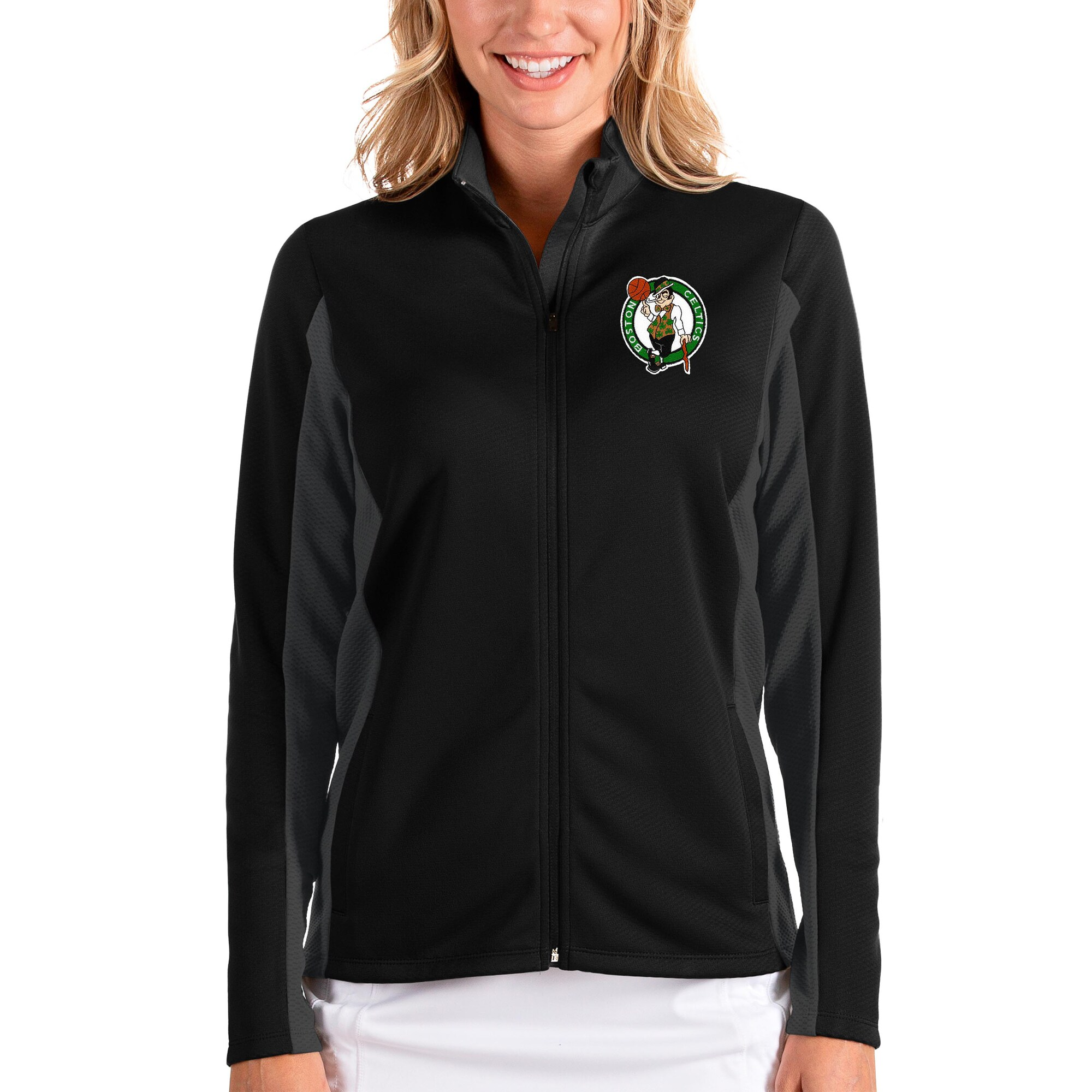 Boston Celtics Antigua Women's Passage Full-Zip Jacket - Black/Charcoal