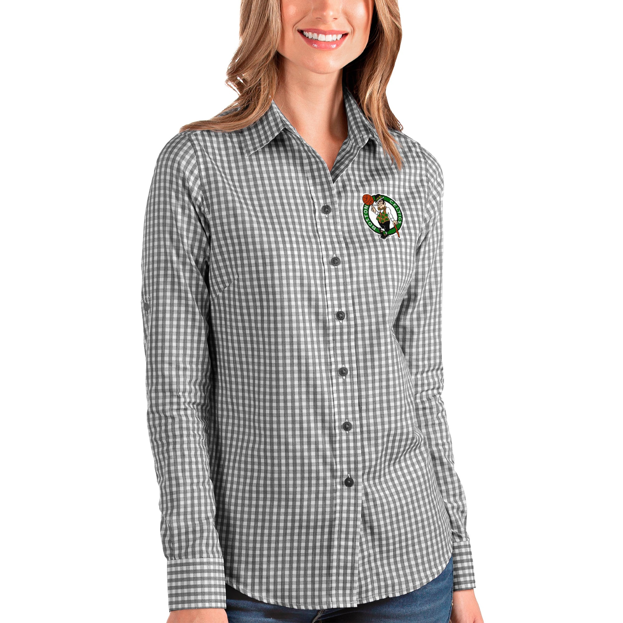 Boston Celtics Antigua Women's Structure Button-Up Long Sleeve Shirt - Black/White