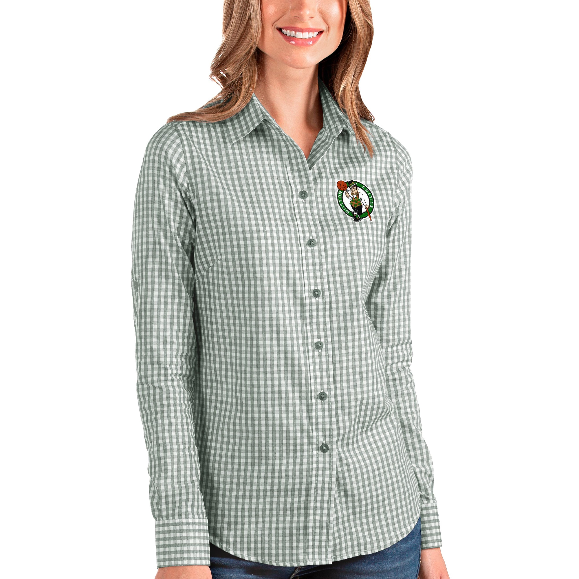 Boston Celtics Antigua Women's Structure Button-Up Long Sleeve Shirt - Green/White