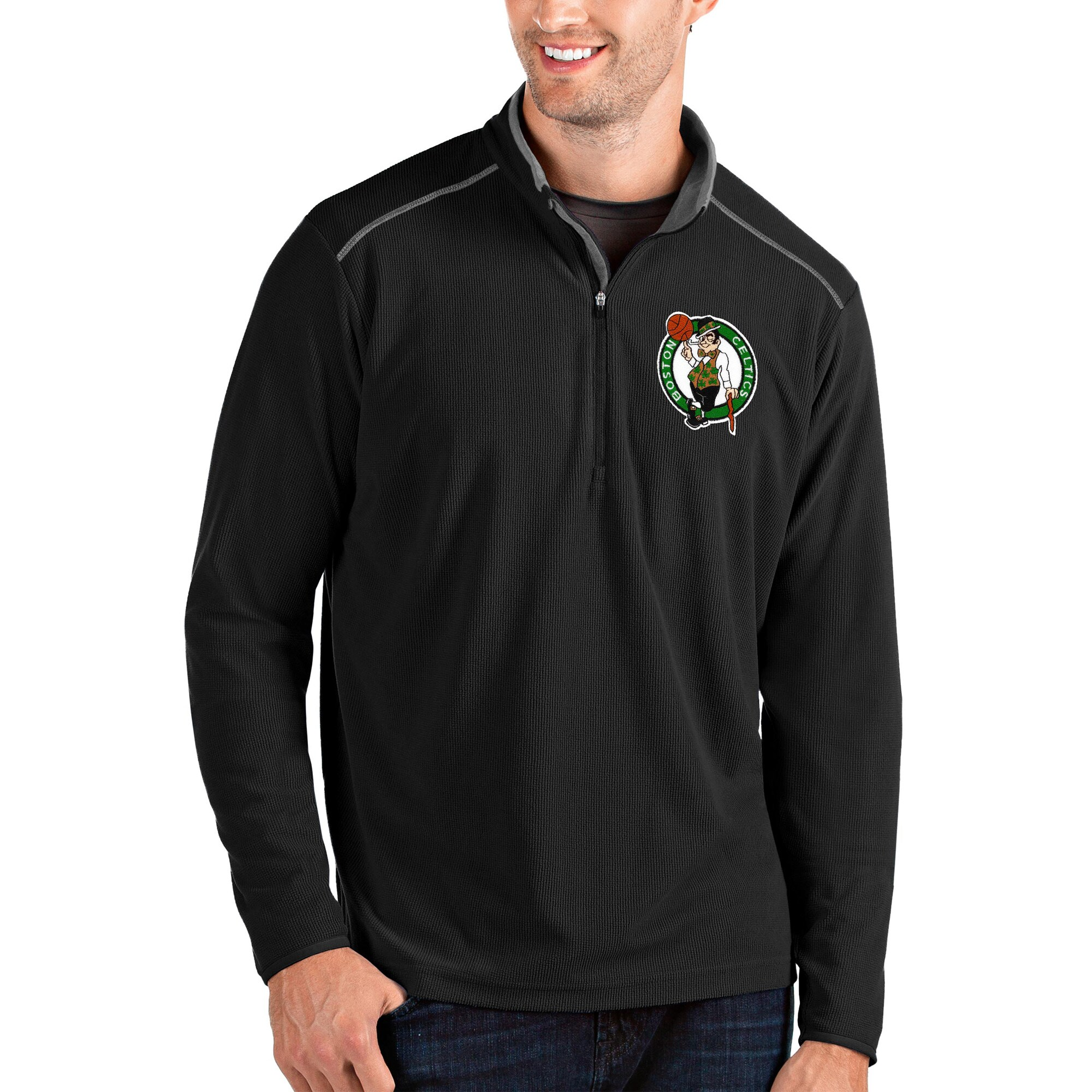Boston Celtics Antigua Glacier Quarter-Zip Pullover Jacket - Black/Gray