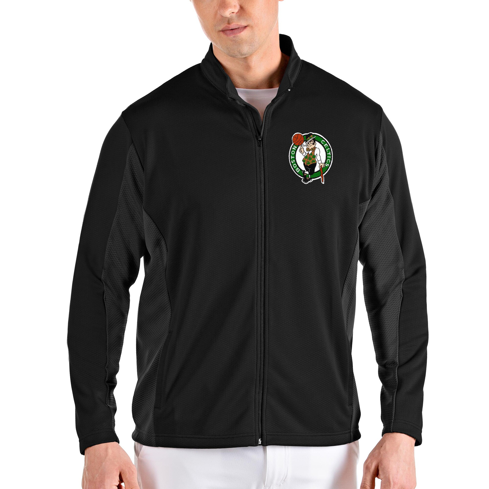 Boston Celtics Antigua Passage Full-Zip Jacket - Black/Gray