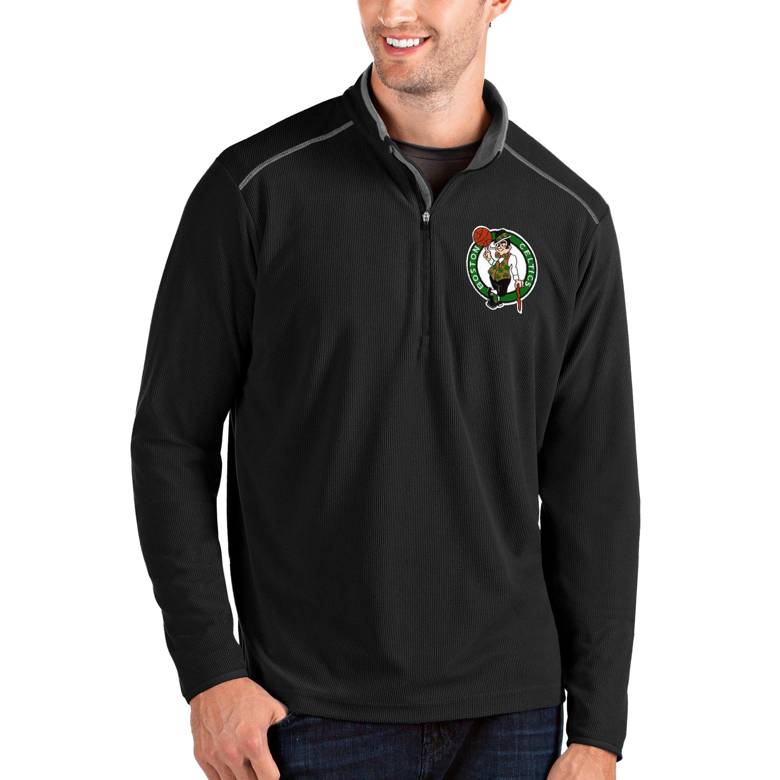 Boston Celtics Antigua Big & Tall Glacier Quarter-Zip Pullover Jacket - Black/Gray