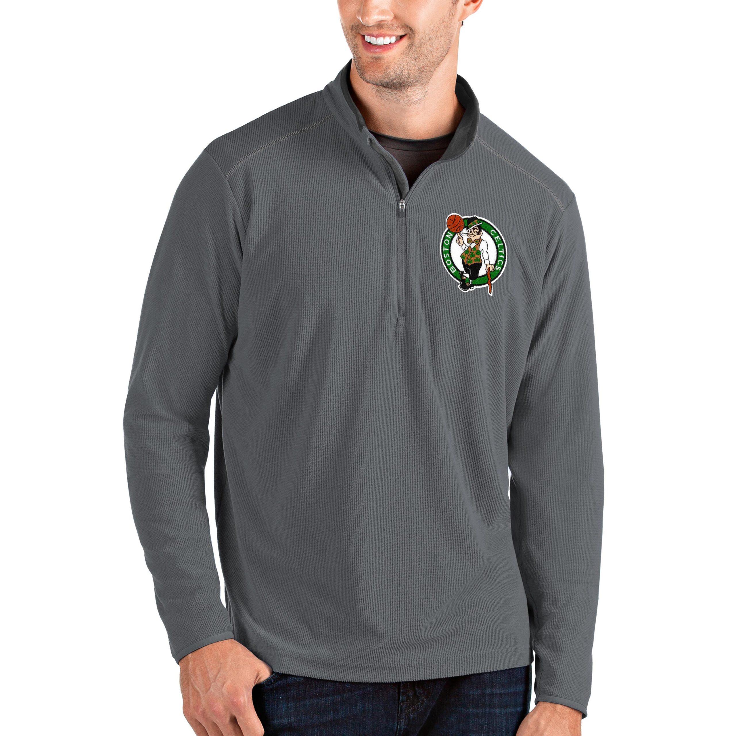 Boston Celtics Antigua Big & Tall Glacier Quarter-Zip Pullover Jacket - Gray/Gray