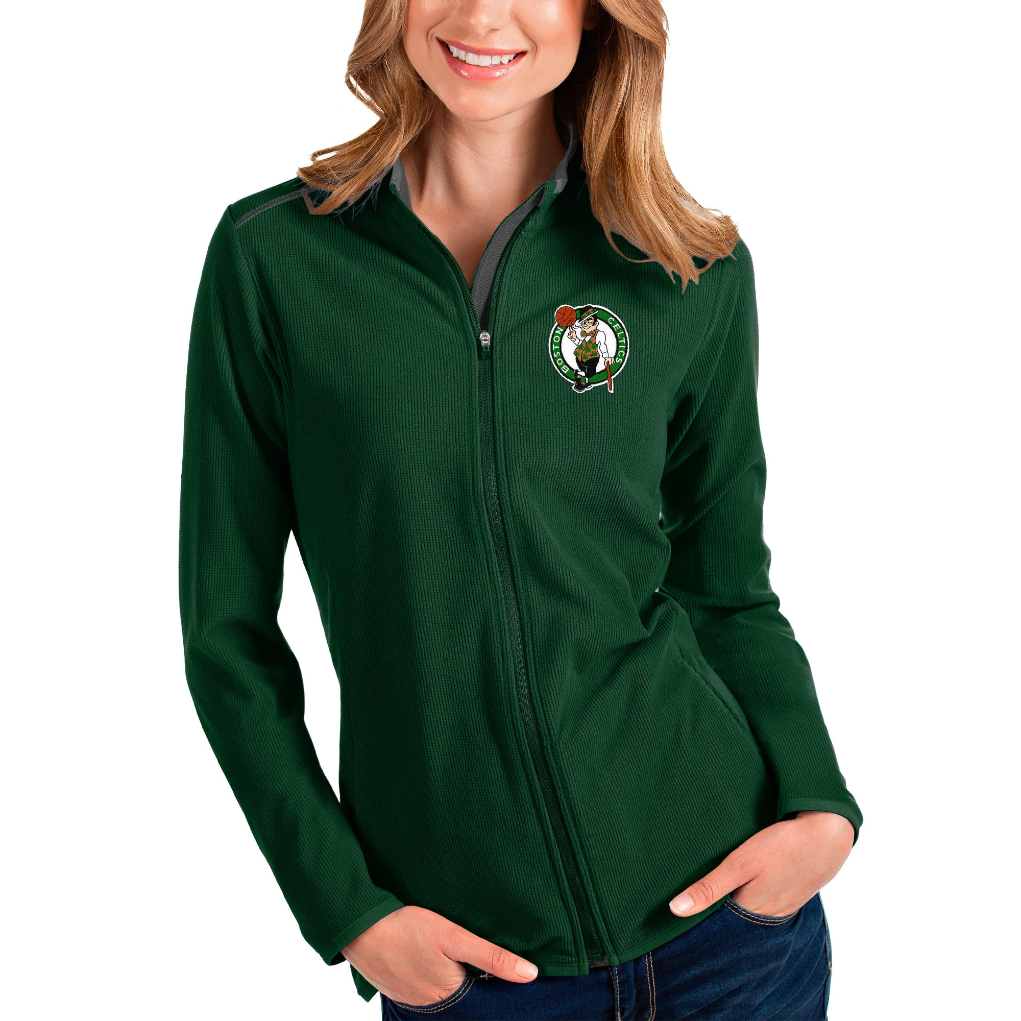Boston Celtics Antigua Women's Glacier Full-Zip Jacket - Green/Gray