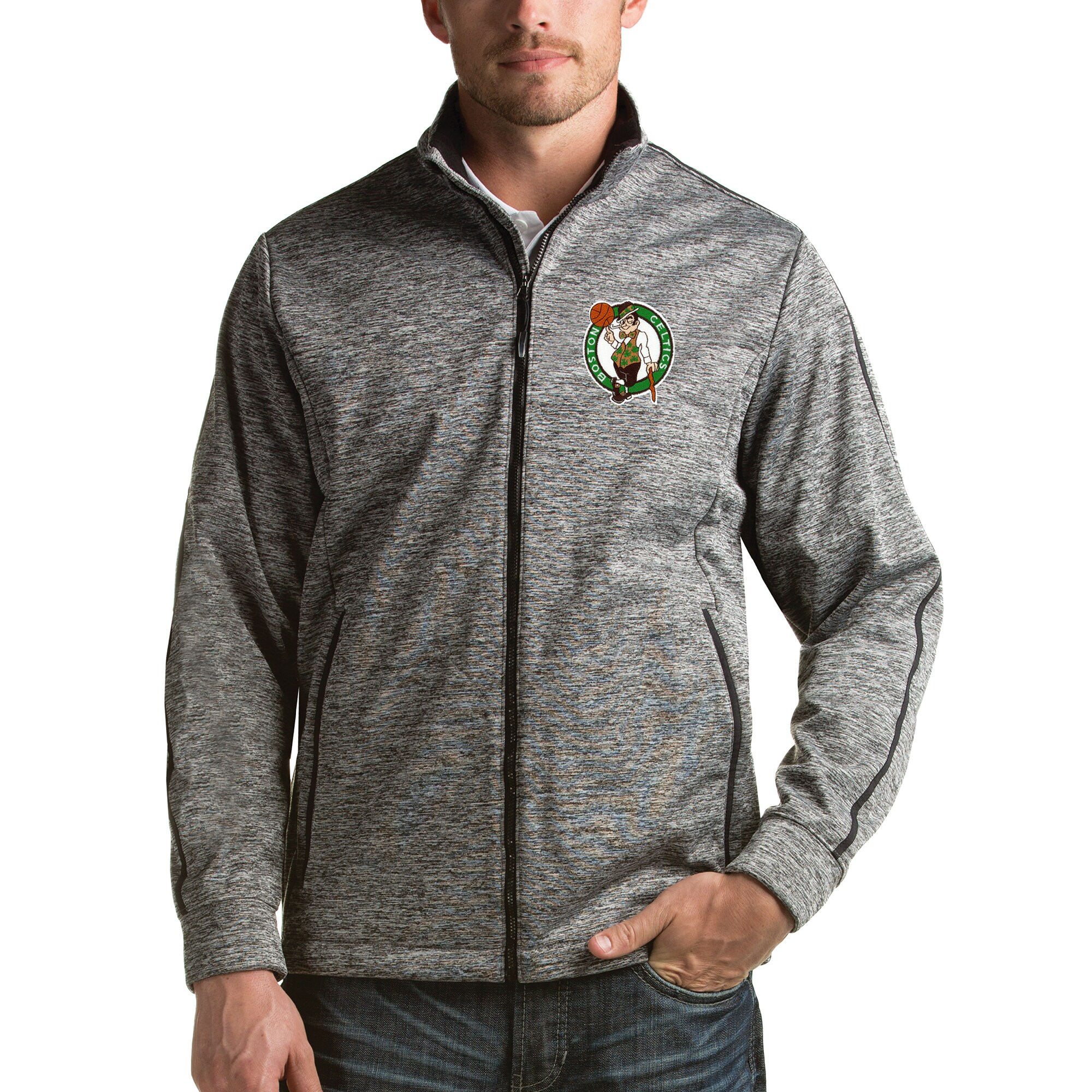 Boston Celtics Antigua Golf Full Zip Jacket - Heathered Black