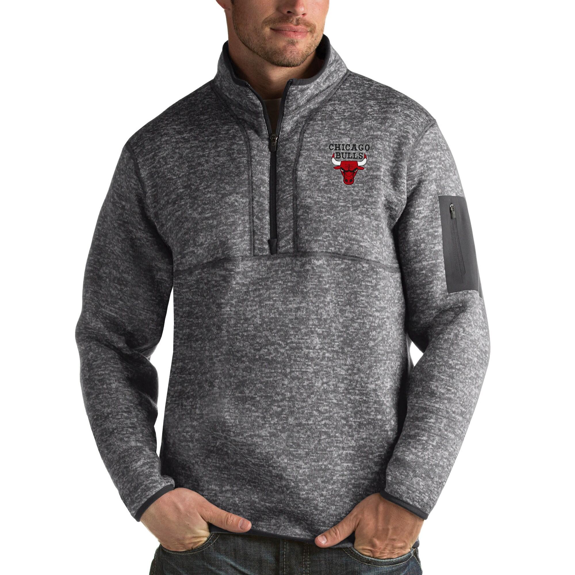 Chicago Bulls Antigua Fortune Big & Tall Quarter-Zip Pullover Jacket - Charcoal