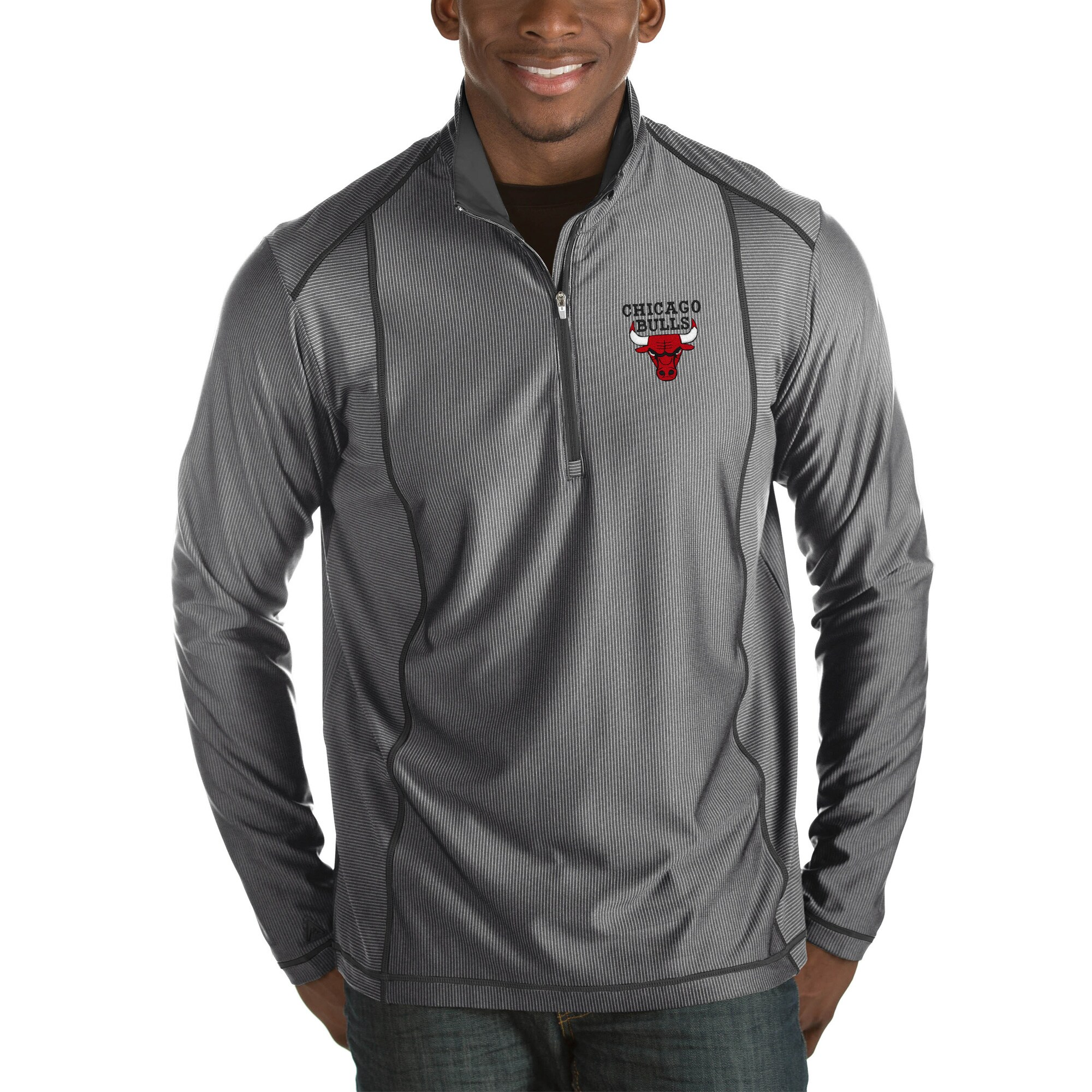 Chicago Bulls Antigua Tempo Big & Tall Half-Zip Pullover Jacket - Charcoal