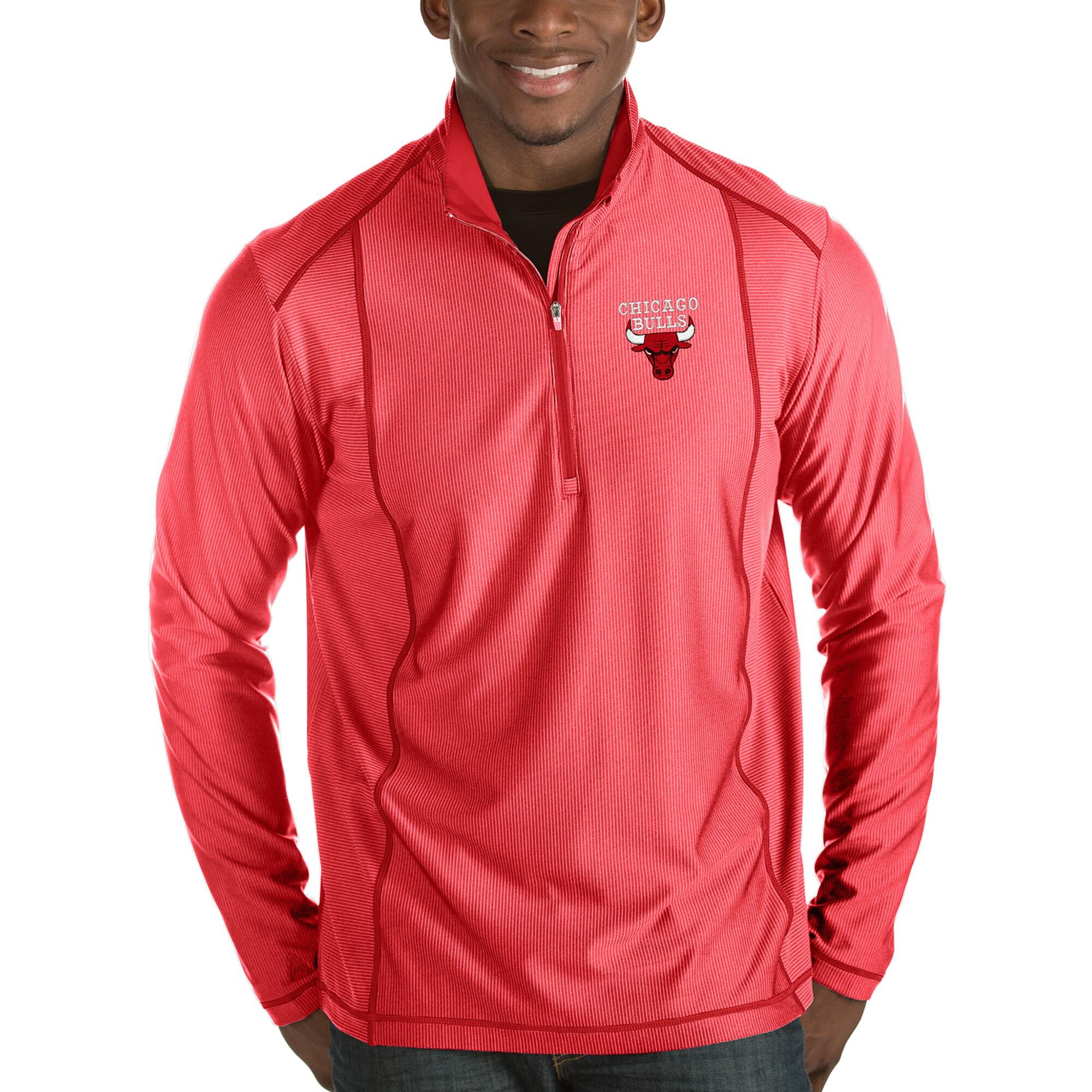Chicago Bulls Antigua Tempo Half-Zip Pullover Jacket - Red