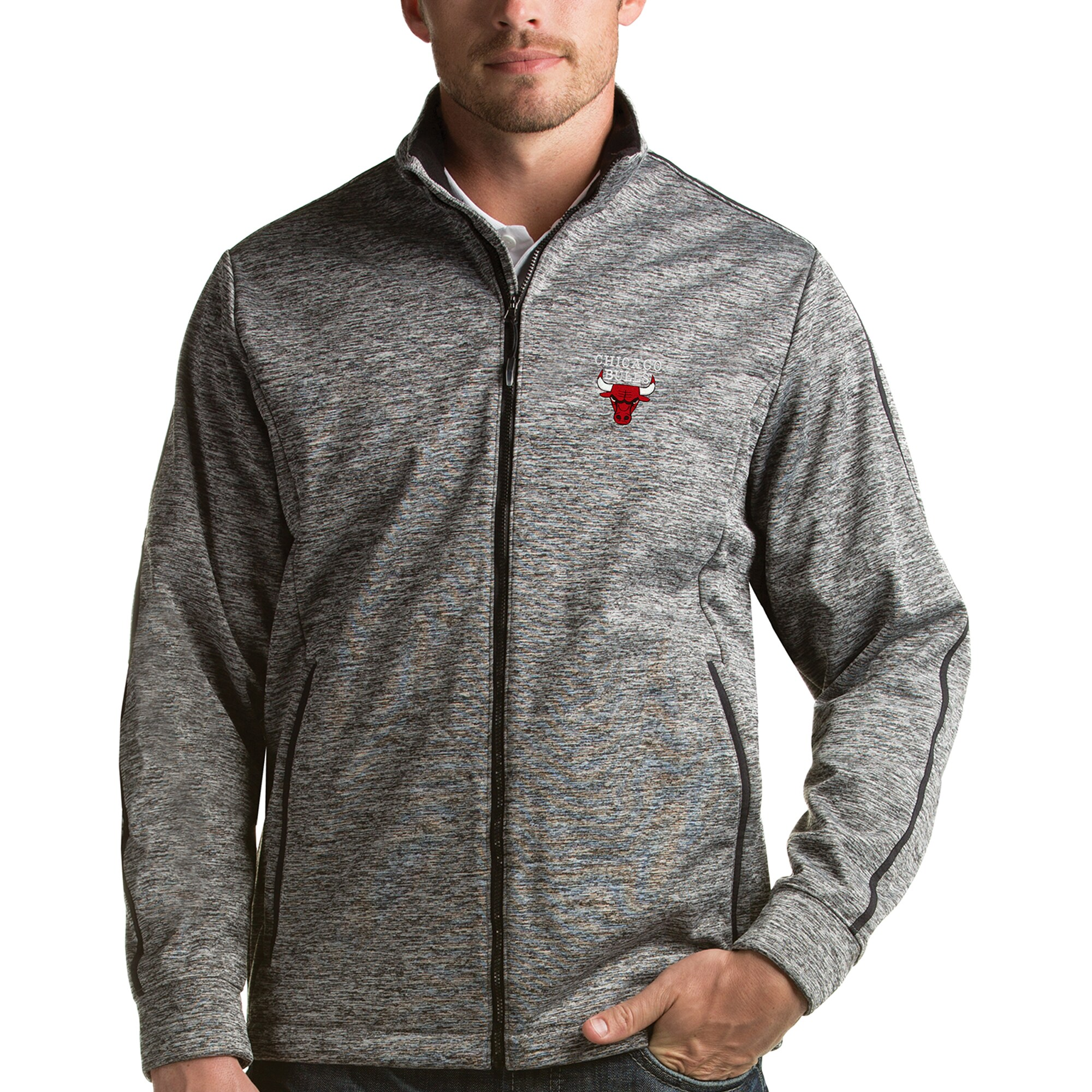 Chicago Bulls Antigua Golf Full-Zip Jacket - Heather Gray