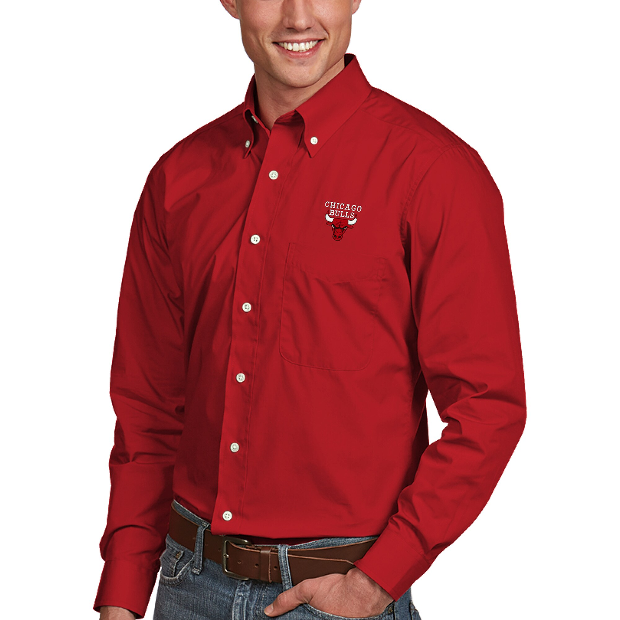 Chicago Bulls Antigua Dynasty Button-Down Long Sleeve Shirt - Red