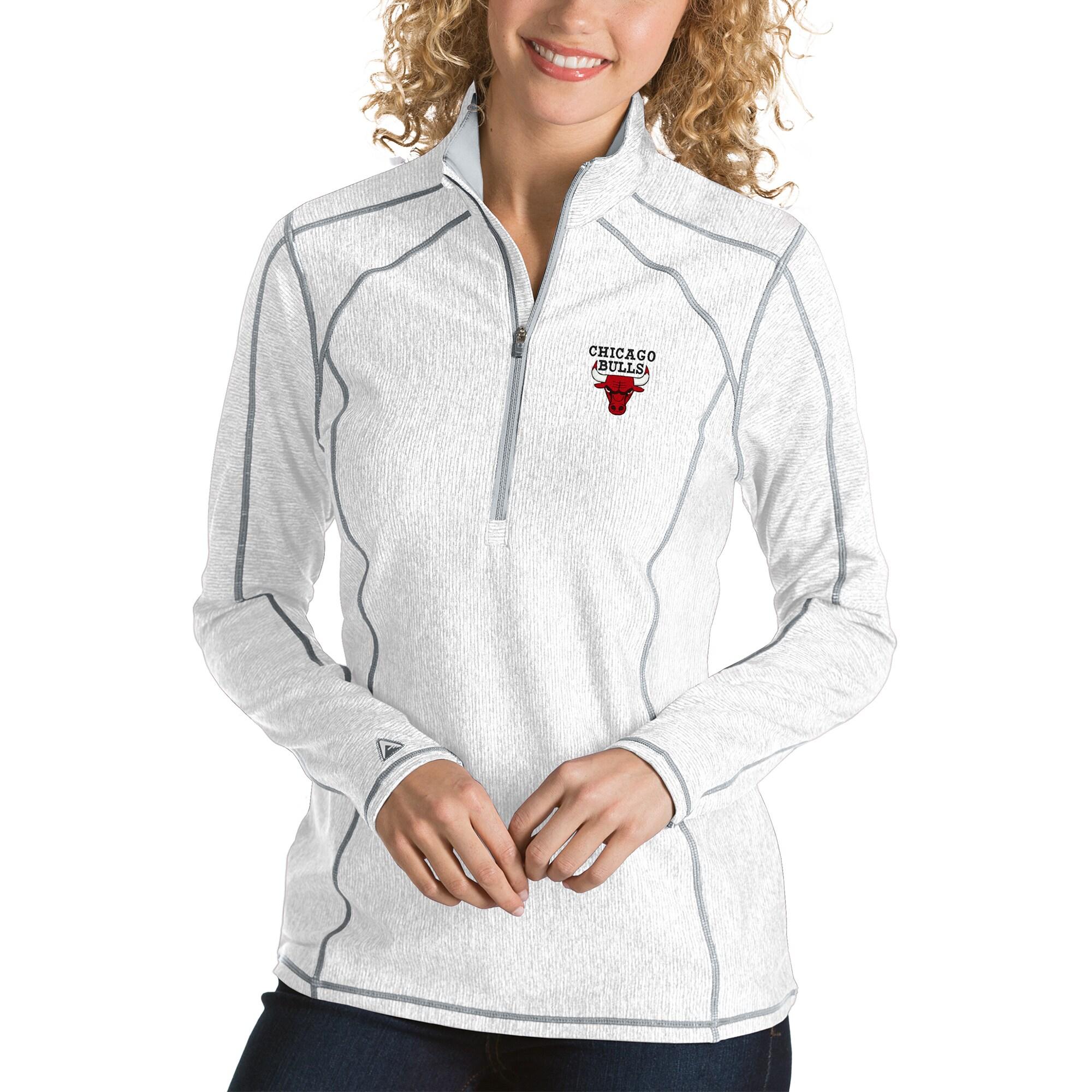 Chicago Bulls Antigua Women's Tempo Half-Zip Pullover Jacket - White
