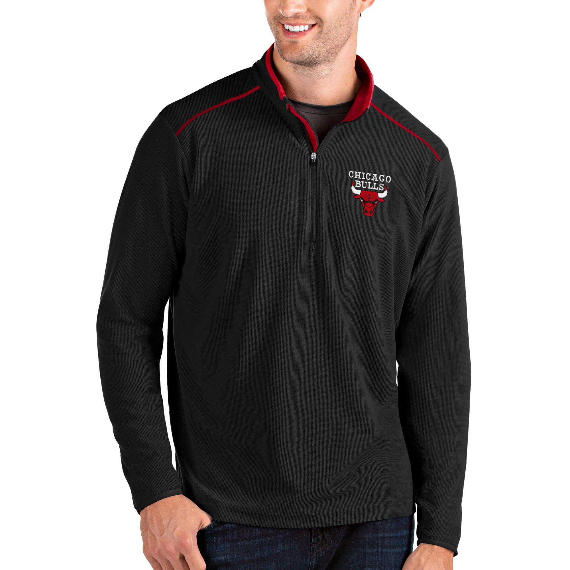 Chicago Bulls Antigua Glacier Quarter-Zip Pullover Jacket - Black/Red